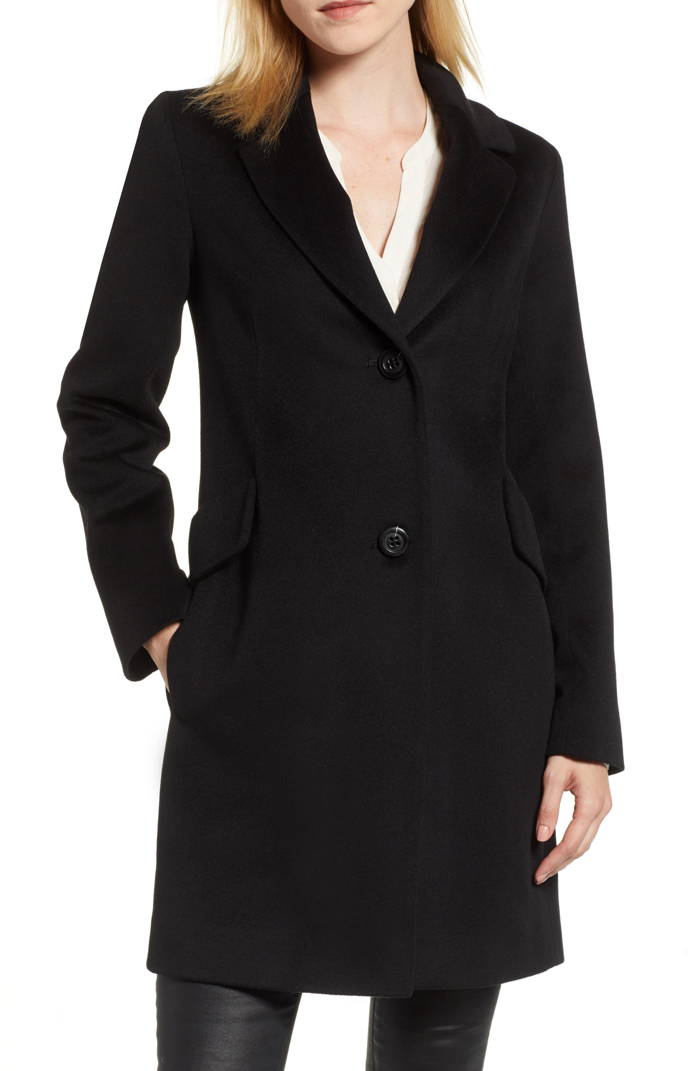 FLEURETTE Notch Collar Wool Coat, Main, color, BLACK