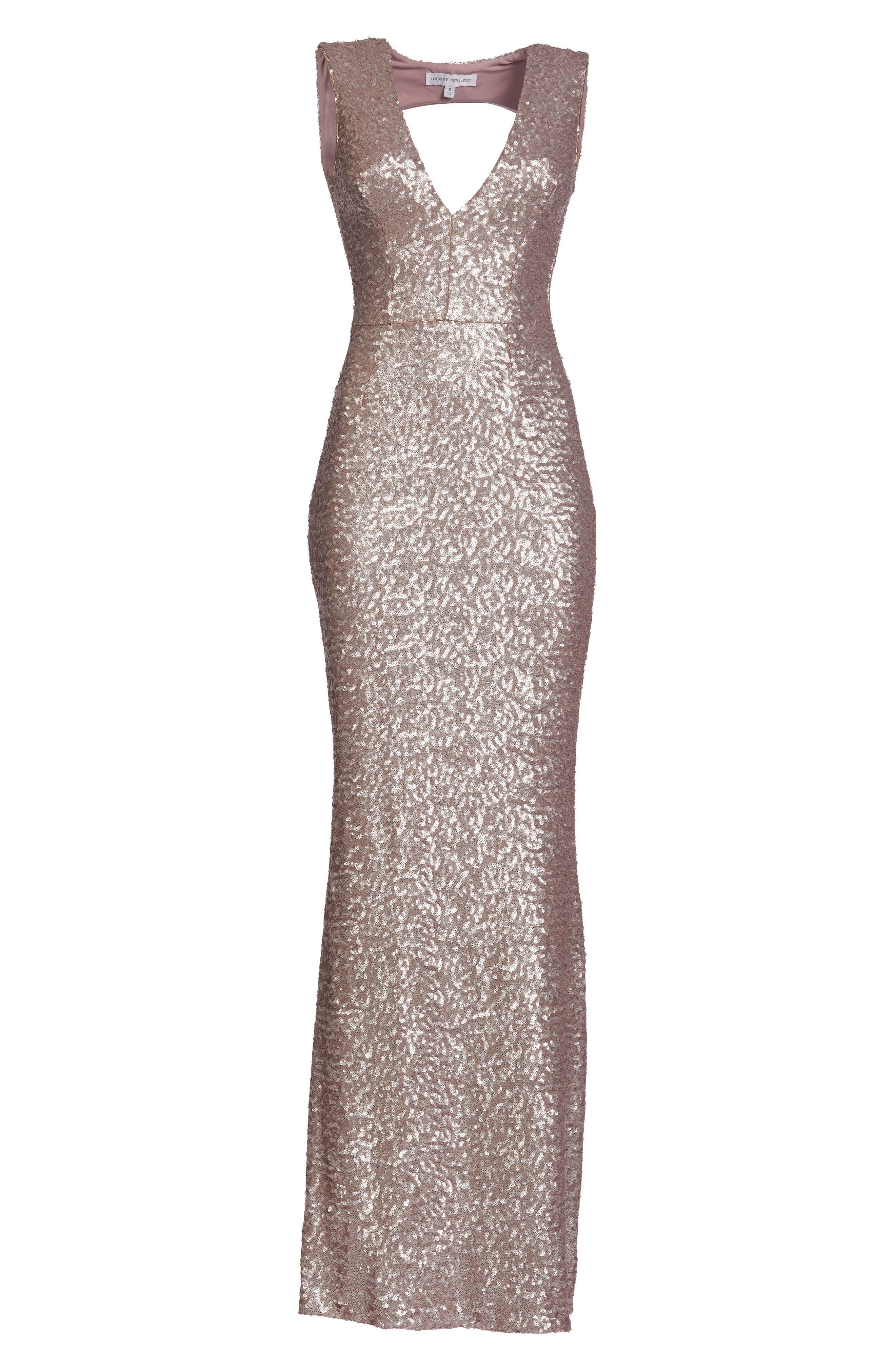 Karina Plunge Mermaid Gown,                             Alternate thumbnail 4, color,                             ICE PINK