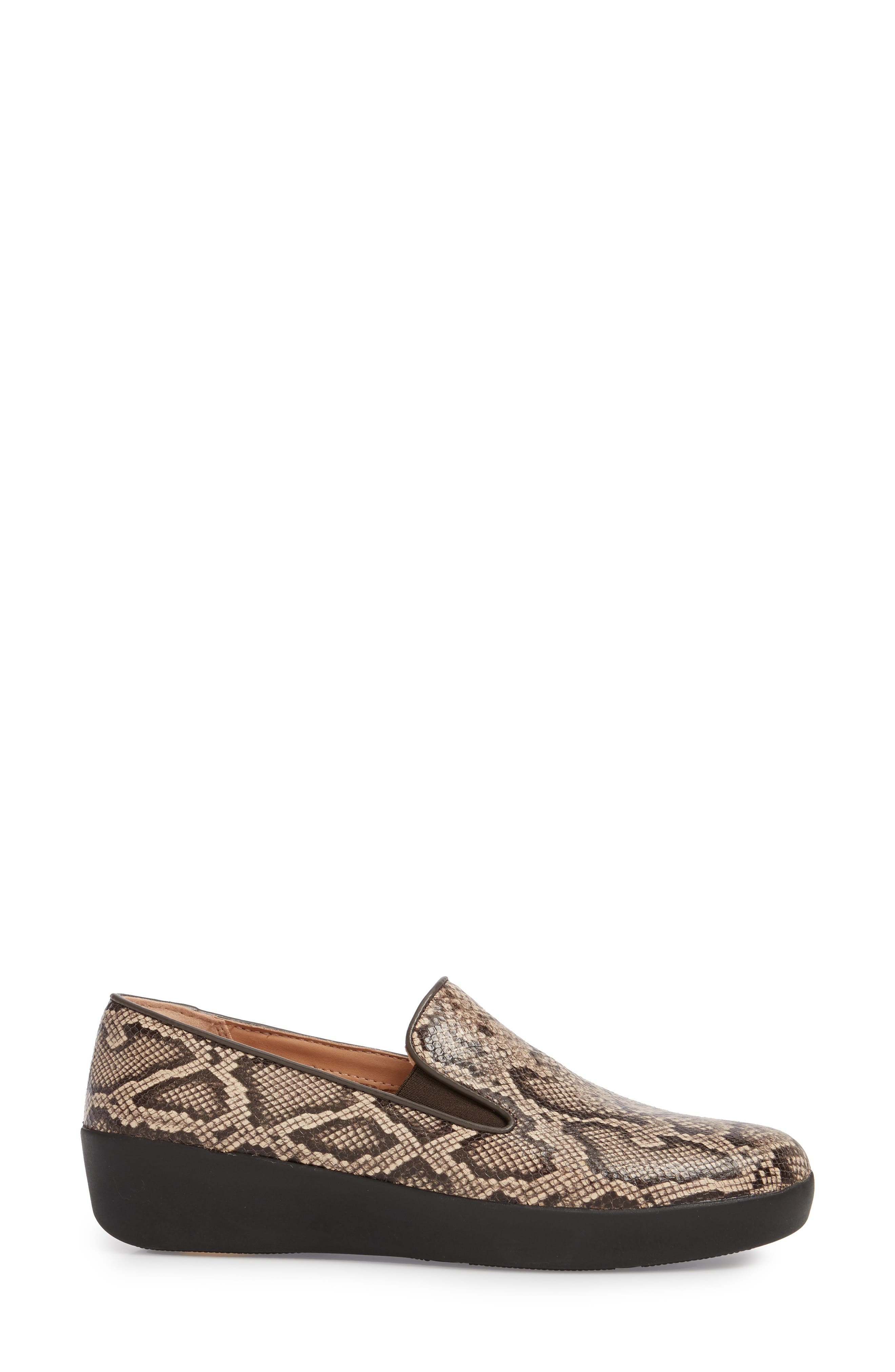 SuperSkate<sup>™</sup> Loafer,                             Alternate thumbnail 3, color,                             TAUPE SNAKE PRINT LEATHER