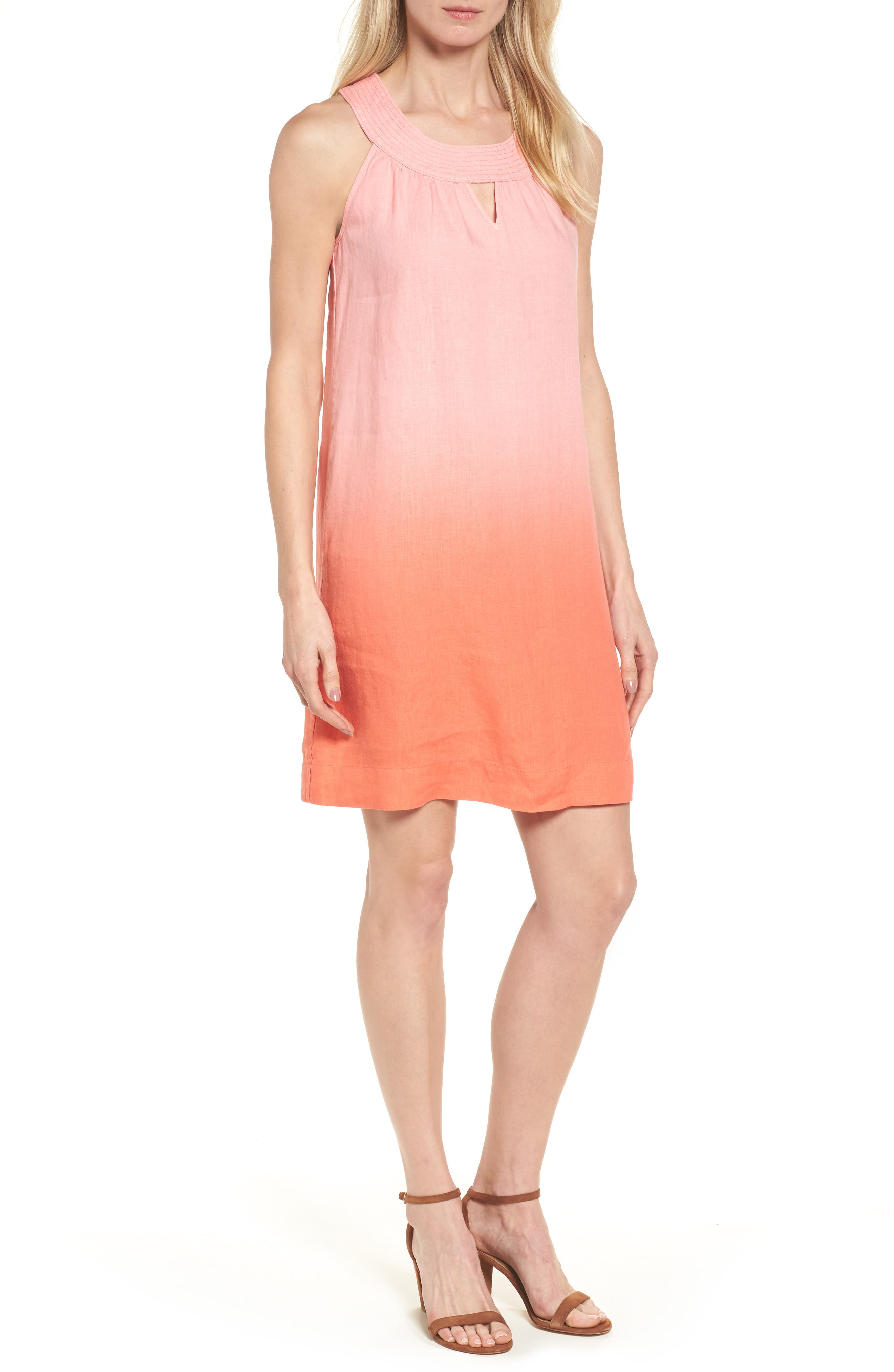 Two Palms Short Sundress,                         Main,                         color, CABANA PINK/ BURNT CORAL