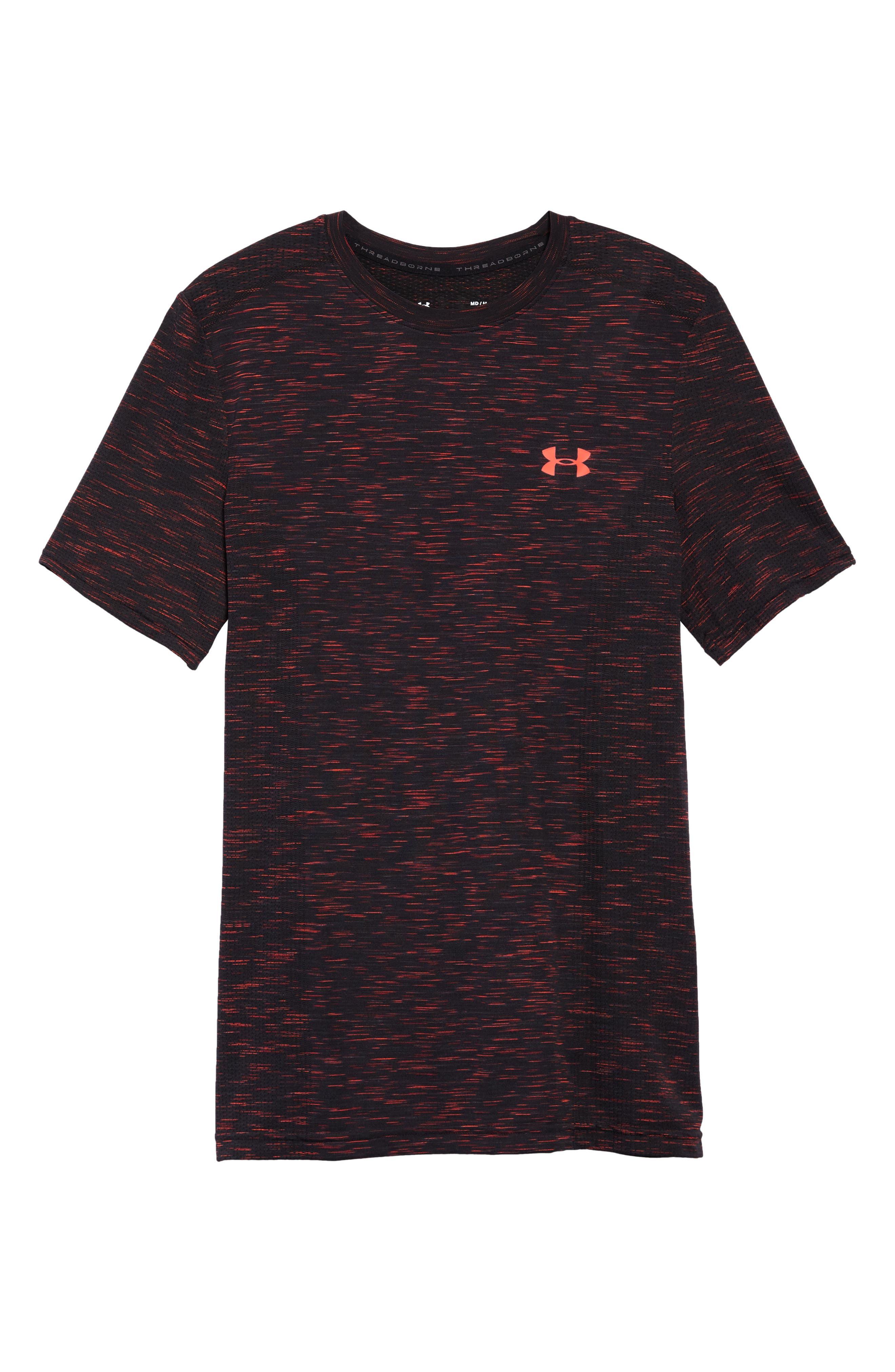 Threadborne Regular Fit T-Shirt,                             Alternate thumbnail 6, color,                             ANTHRACITE/ NEON CORAL