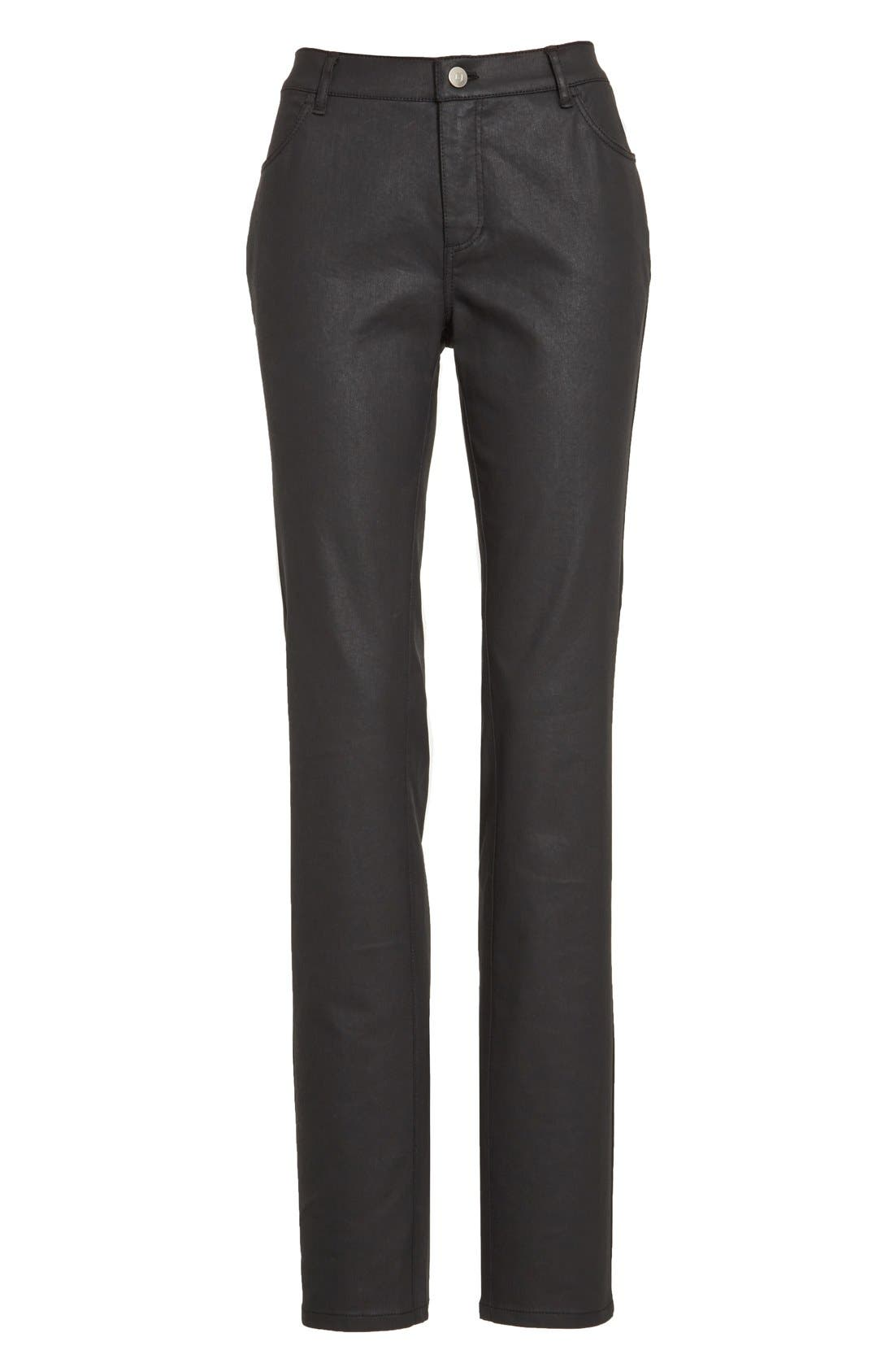 Waxed Denim Slim Leg Jeans,                             Alternate thumbnail 6, color,                             BLACK