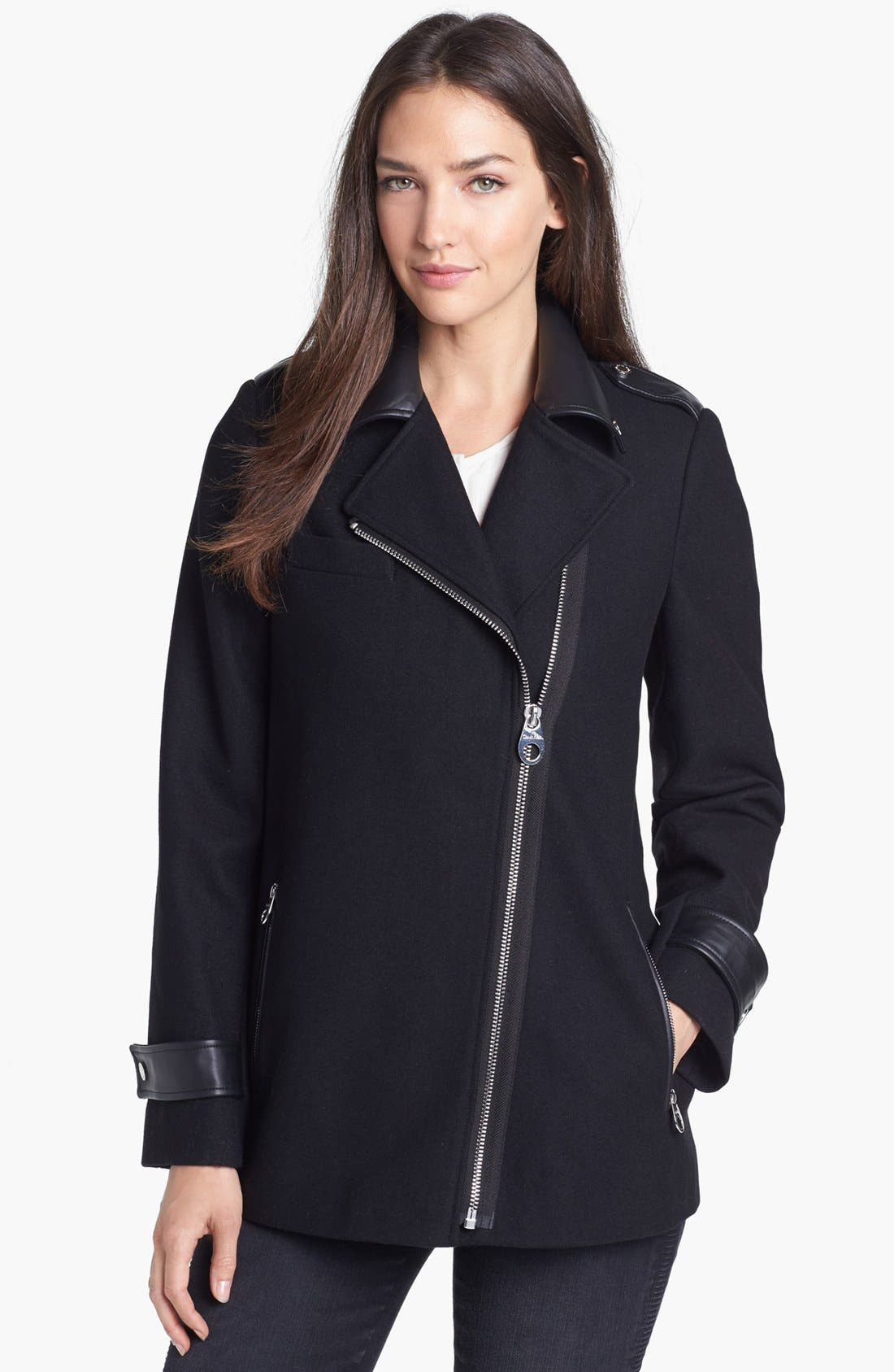 Faux Leather Trim Asymmetrical Jacket,                             Main thumbnail 1, color,                             001