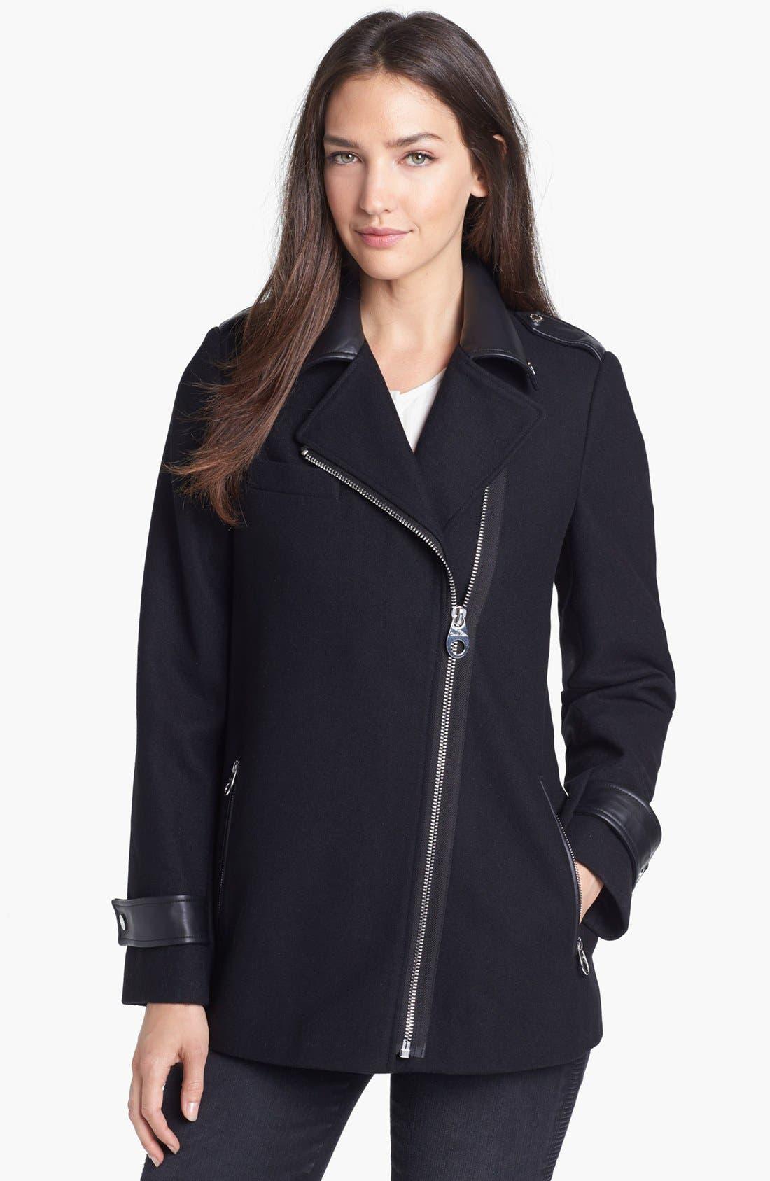 Faux Leather Trim Asymmetrical Jacket, Main, color, 001