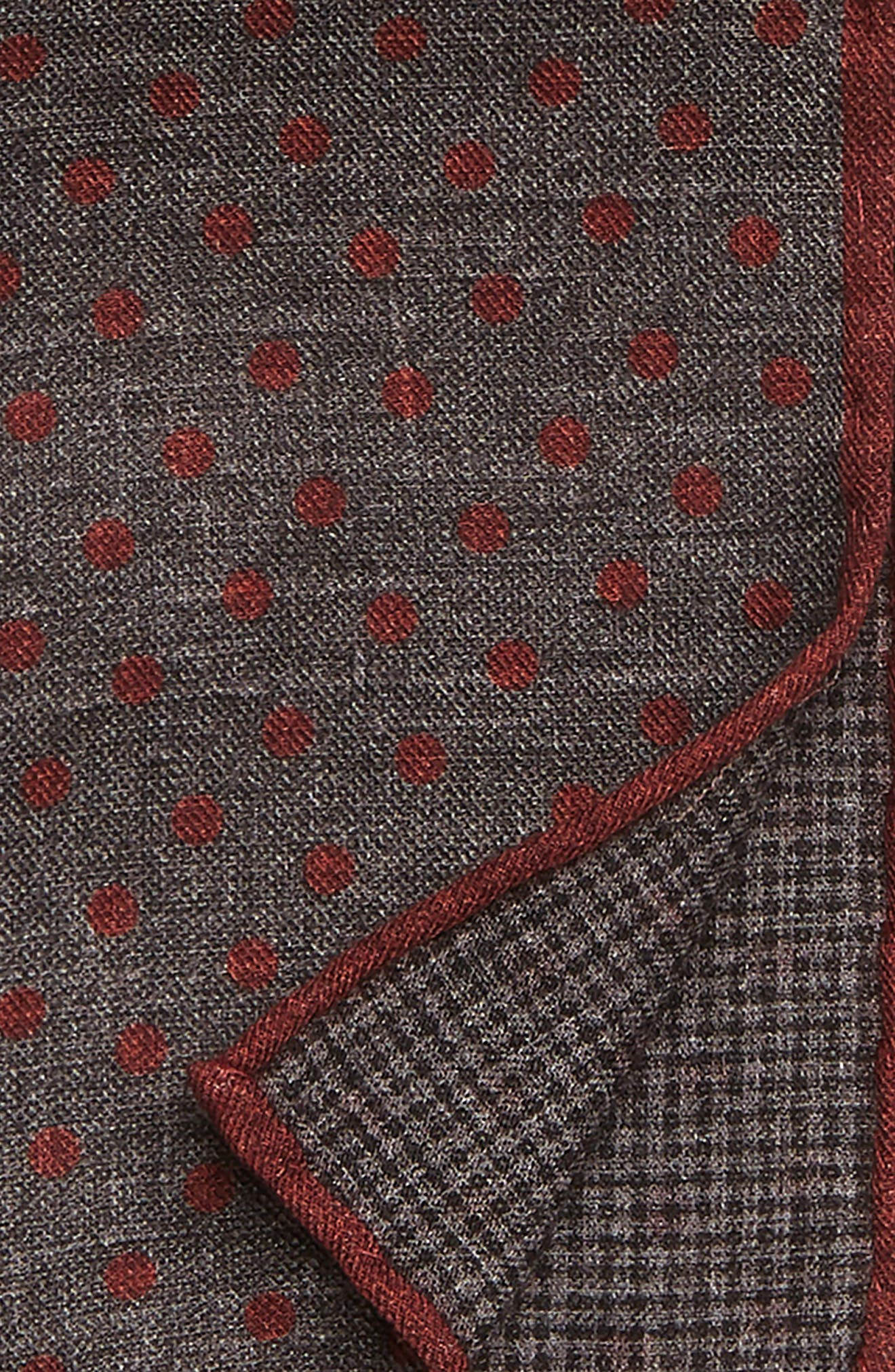 Dot Wool & Cotton Pocket Square,                             Alternate thumbnail 3, color,                             DARK GREY