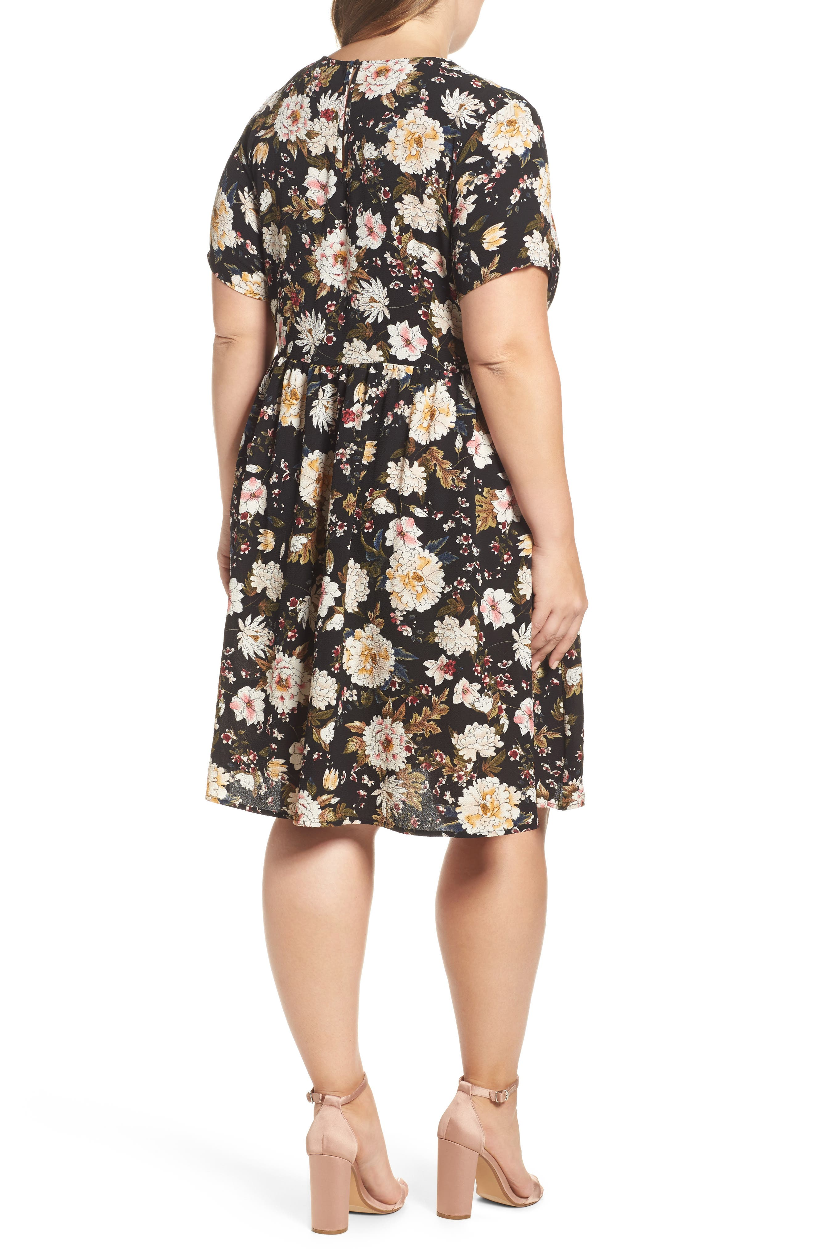 Empire Waist Floral Print Dress,                             Alternate thumbnail 2, color,                             009