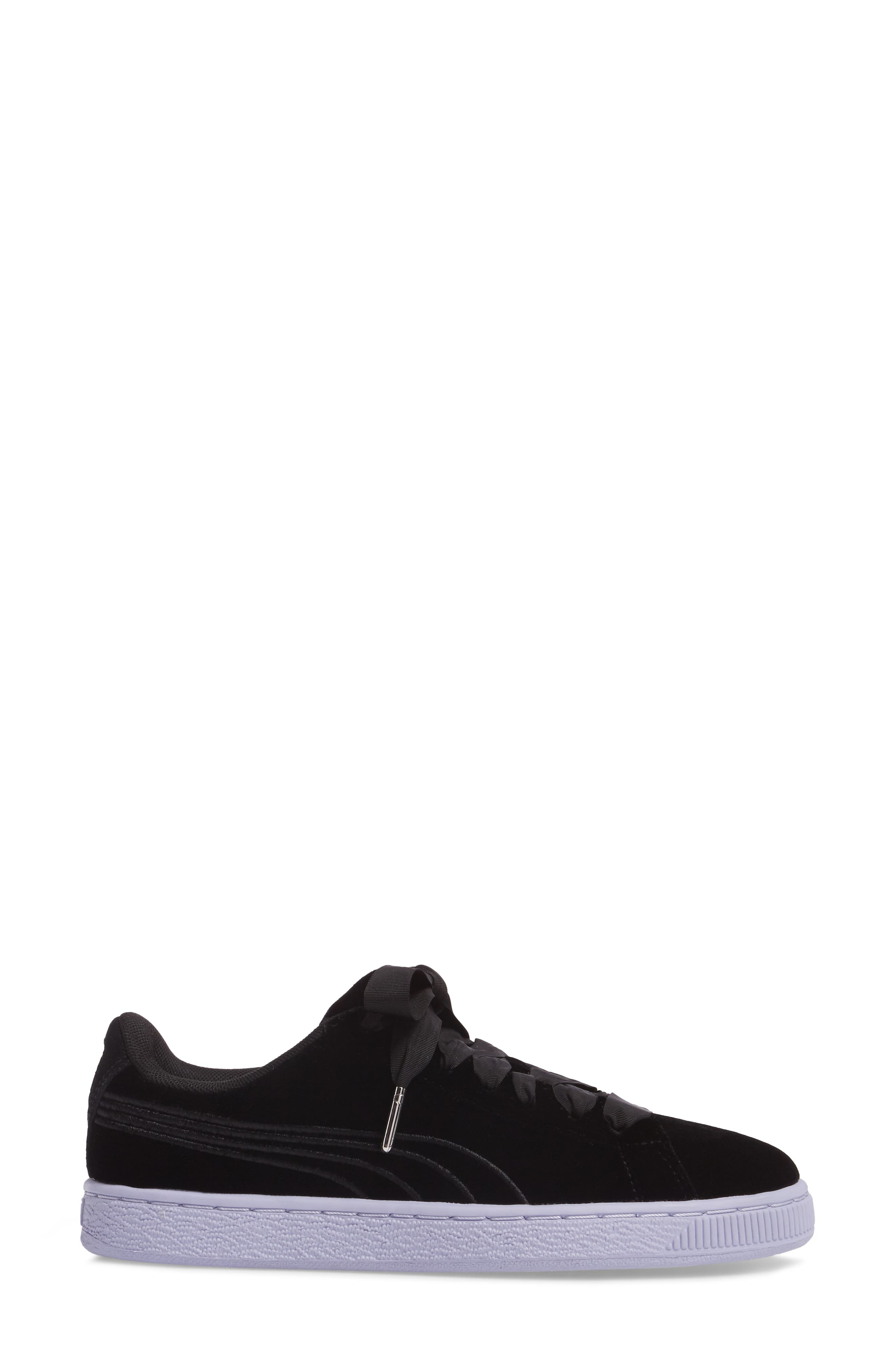 Basket Classic Velour Sneaker,                             Alternate thumbnail 3, color,                             001