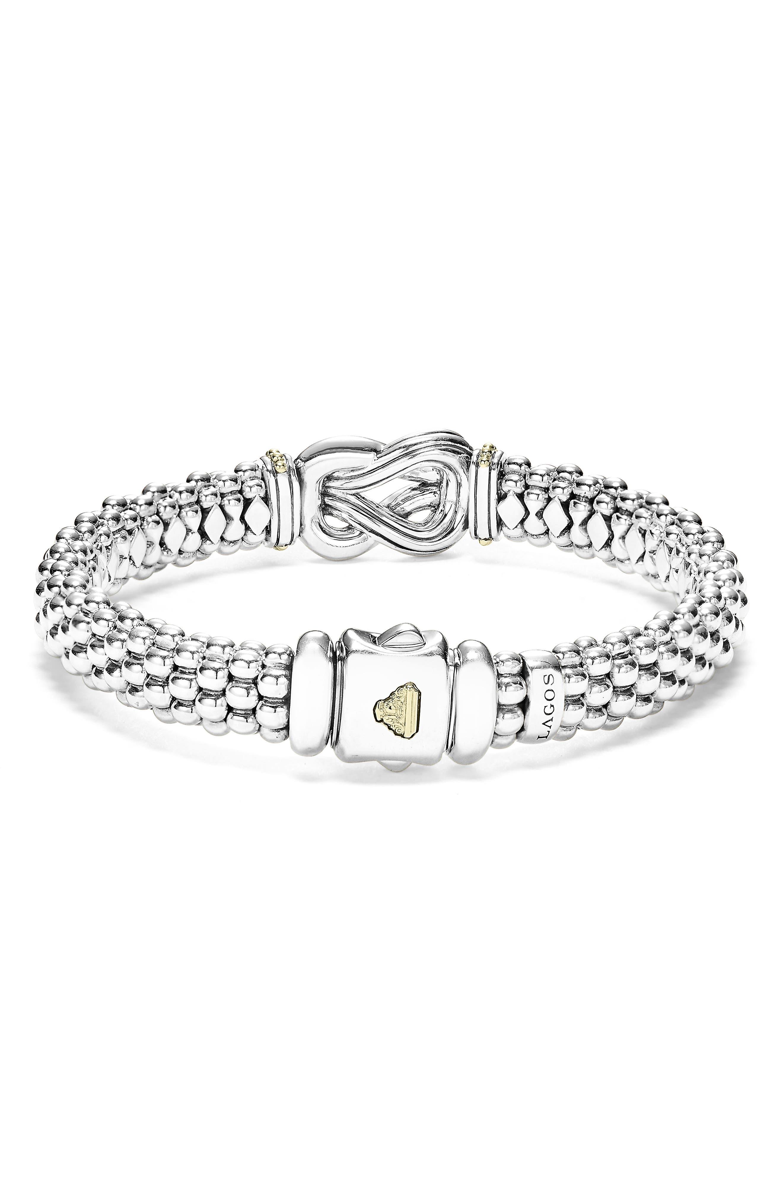 Caviar Newport Diamond Station Bracelet,                             Alternate thumbnail 5, color,                             SILVER/ GOLD