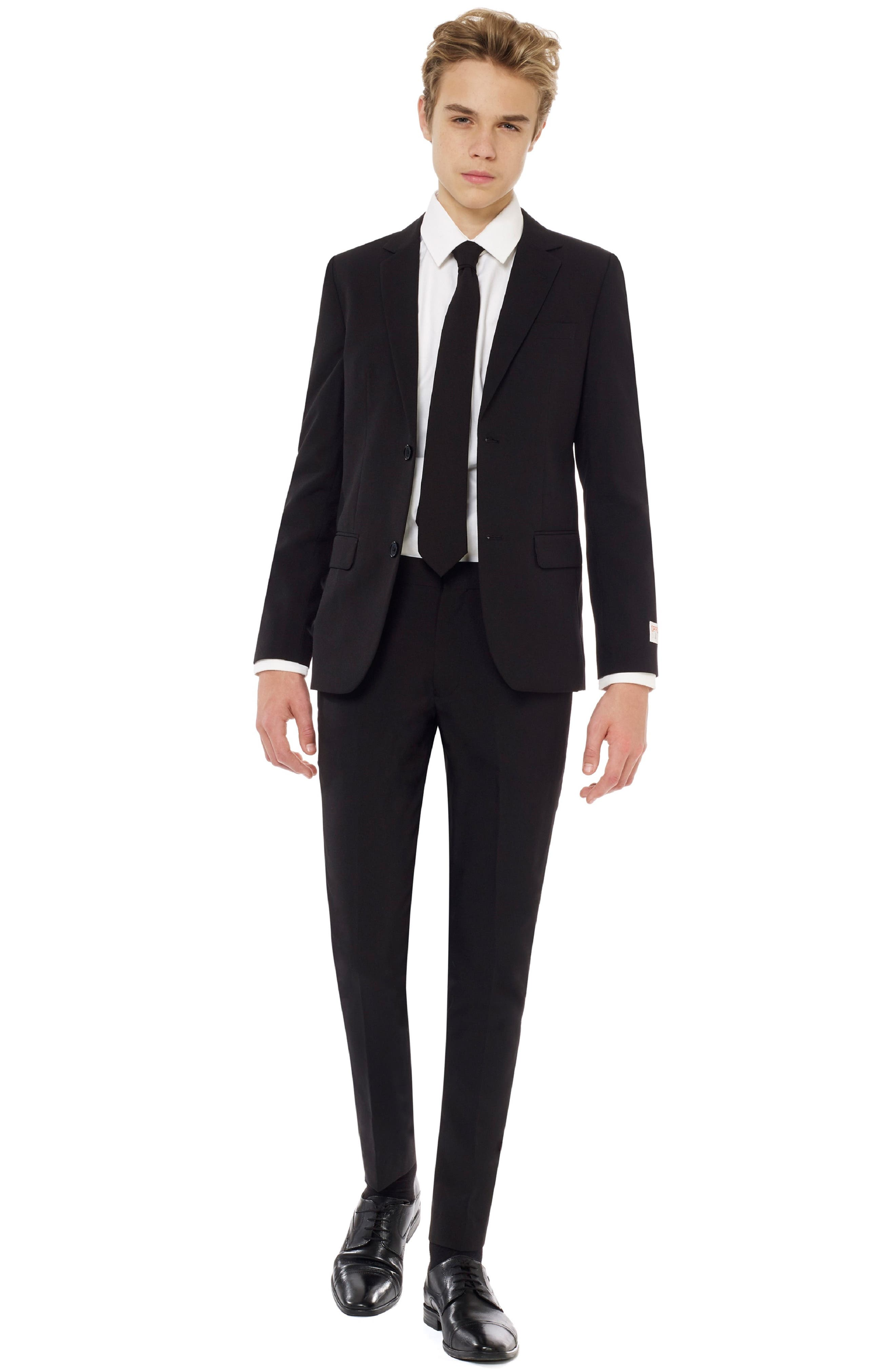 Black Knight Two-Piece Suit with Tie,                         Main,                         color, 011