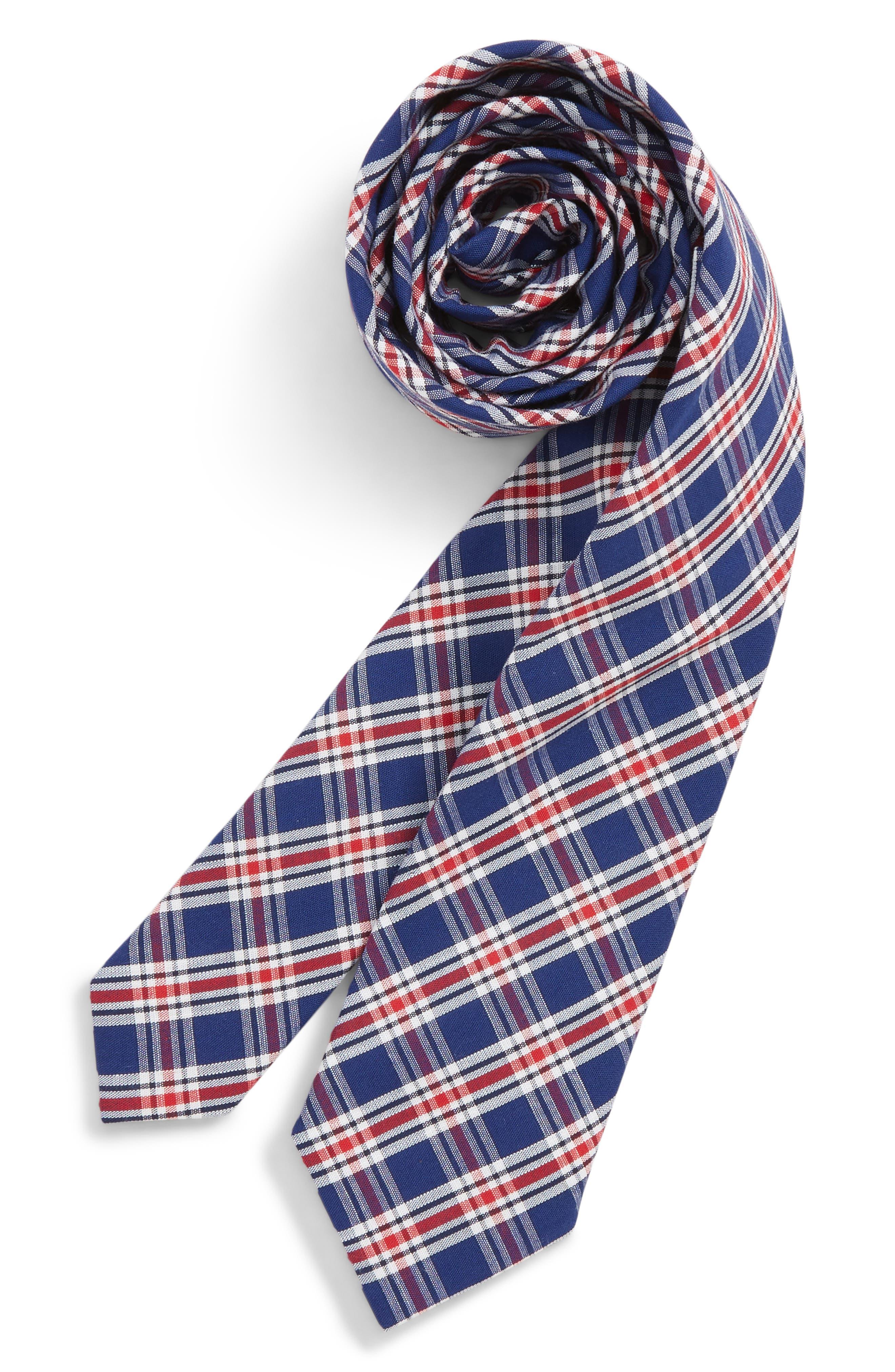 Plaid Cotton Tie,                             Main thumbnail 1, color,                             600