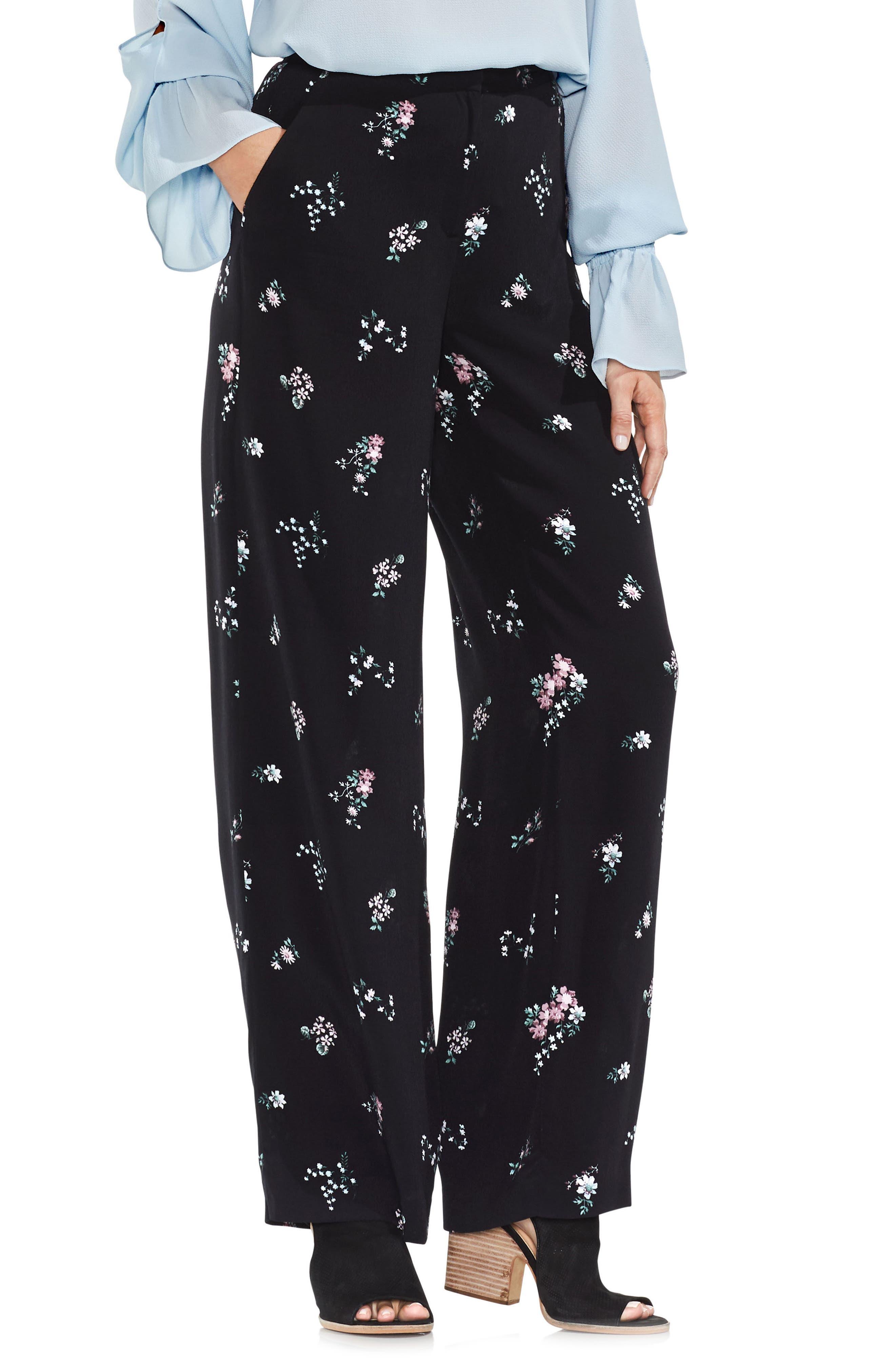 Delicate Floral Wide Leg Pants,                             Main thumbnail 1, color,                             006