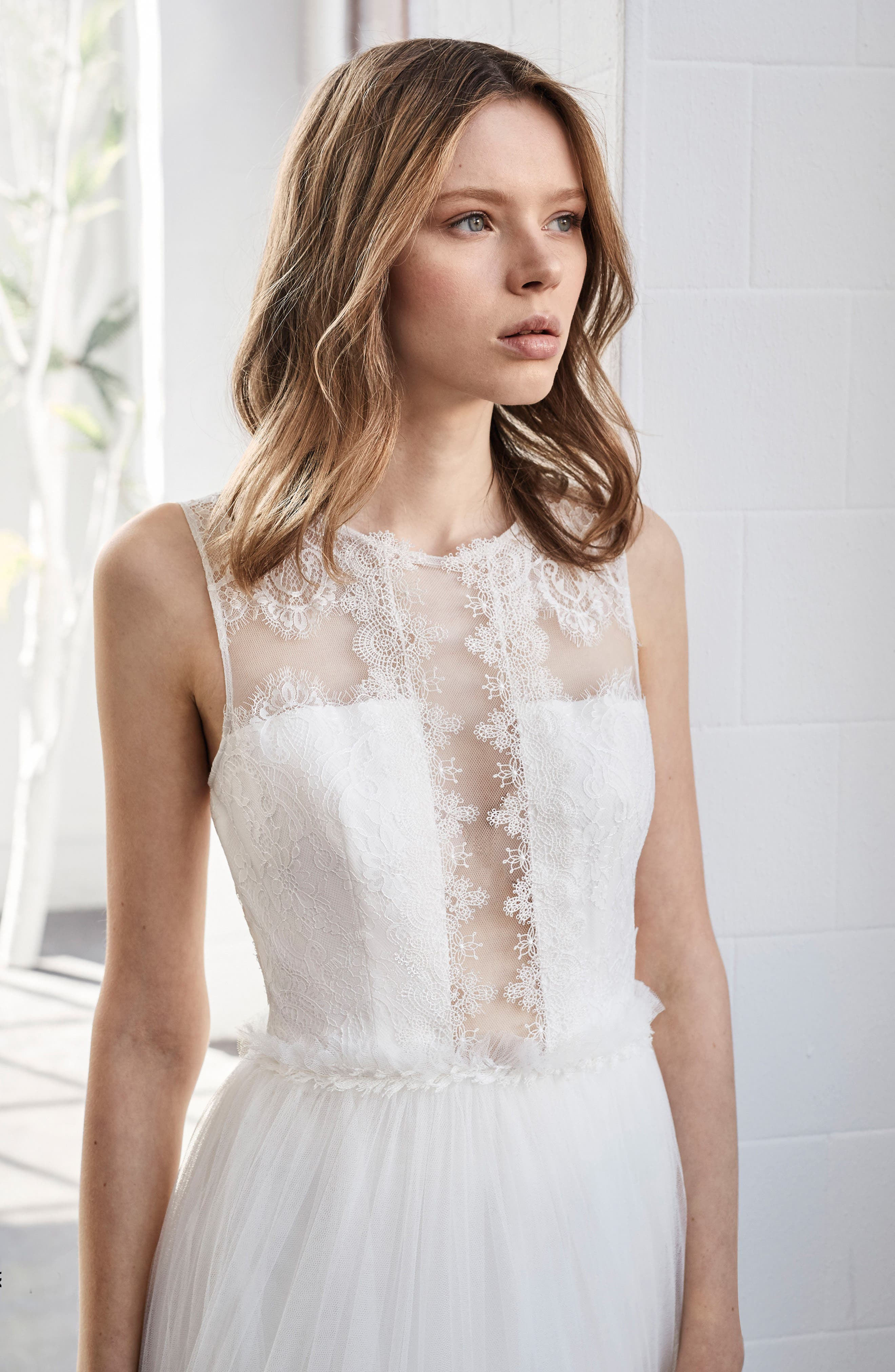 Inmaculada García Jaspe Lace & Tulle A-Line Gown,                             Alternate thumbnail 3, color,                             IVORY