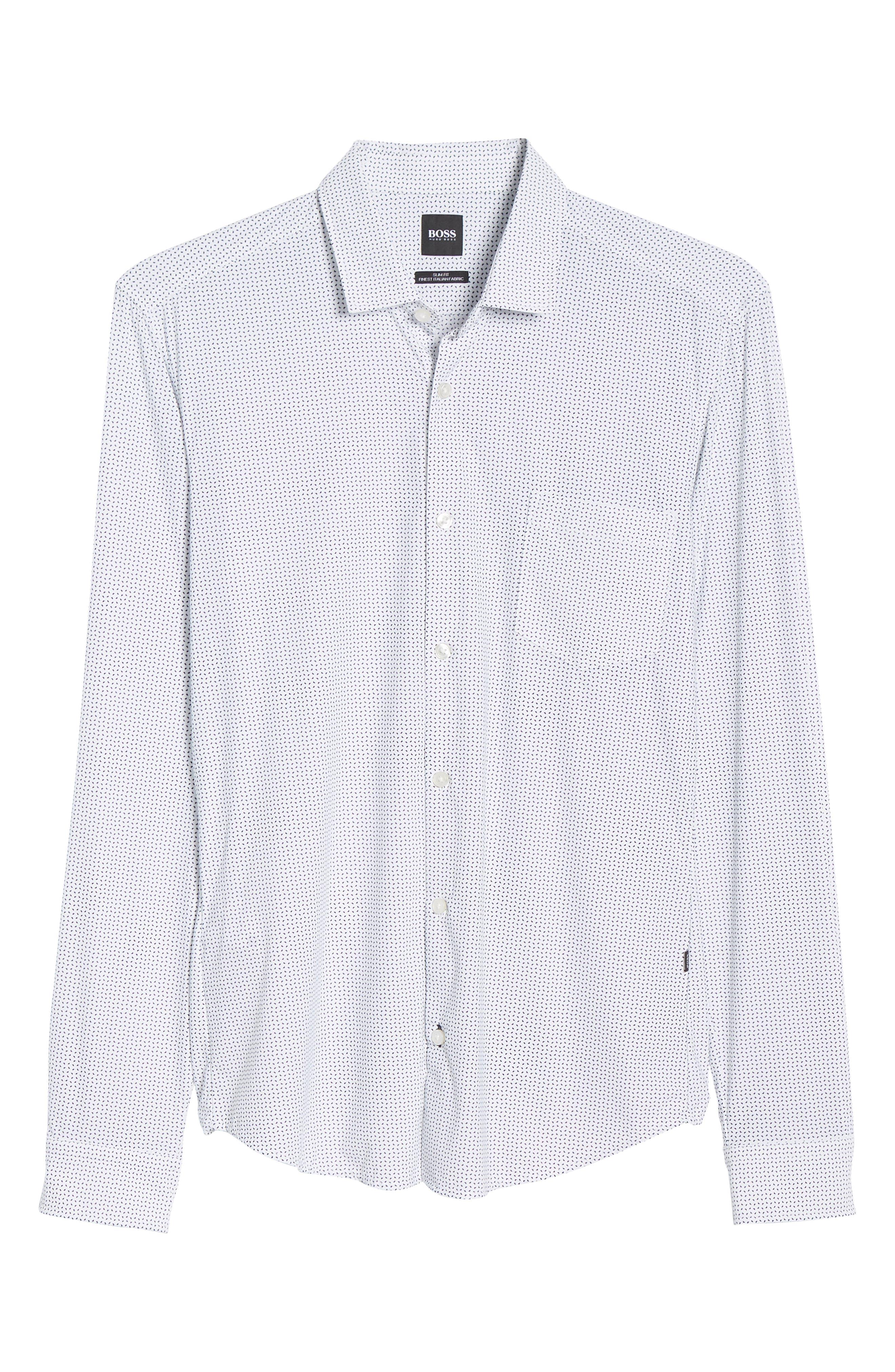 Rikki Slim Fit Microprint Sport Shirt,                             Alternate thumbnail 5, color,                             WHITE MICRO