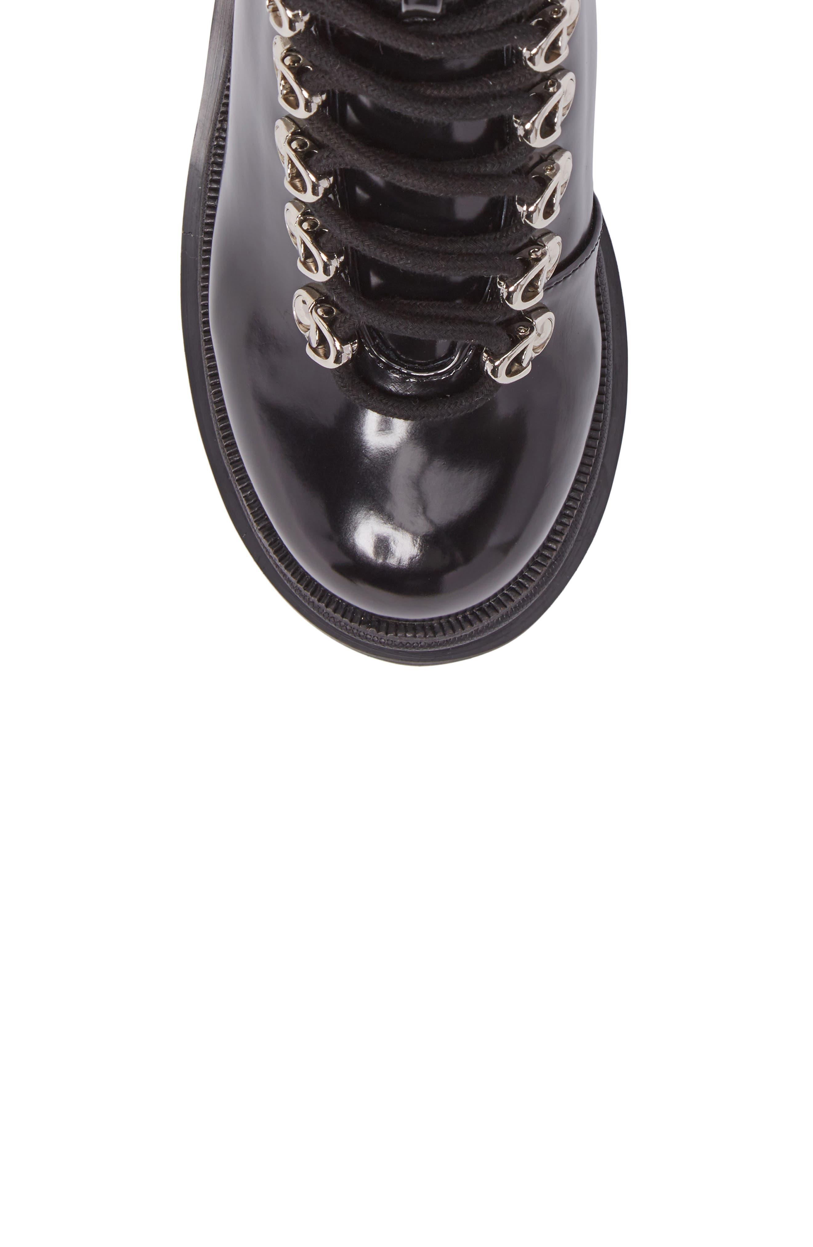 Czech Lace-Up Boot,                             Alternate thumbnail 5, color,                             BLACK PATENT LEATHER