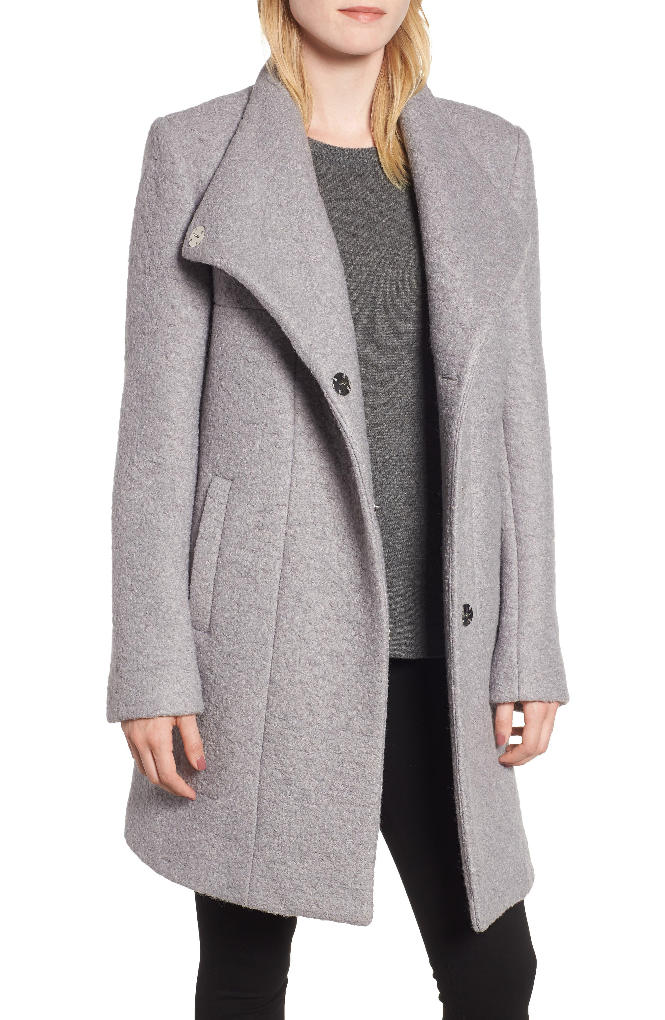Pressed Bouclé Coat,                         Main,                         color, NICKEL