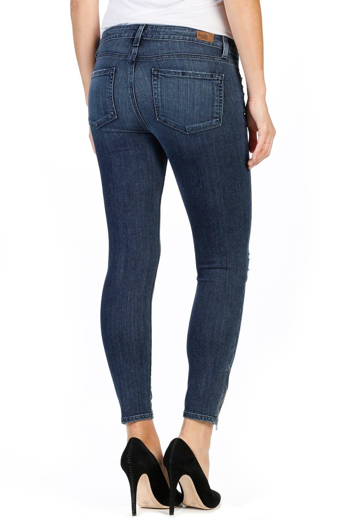 Transcend - Jane Zip Detail Ankle Jeans,                             Alternate thumbnail 4, color,                             400