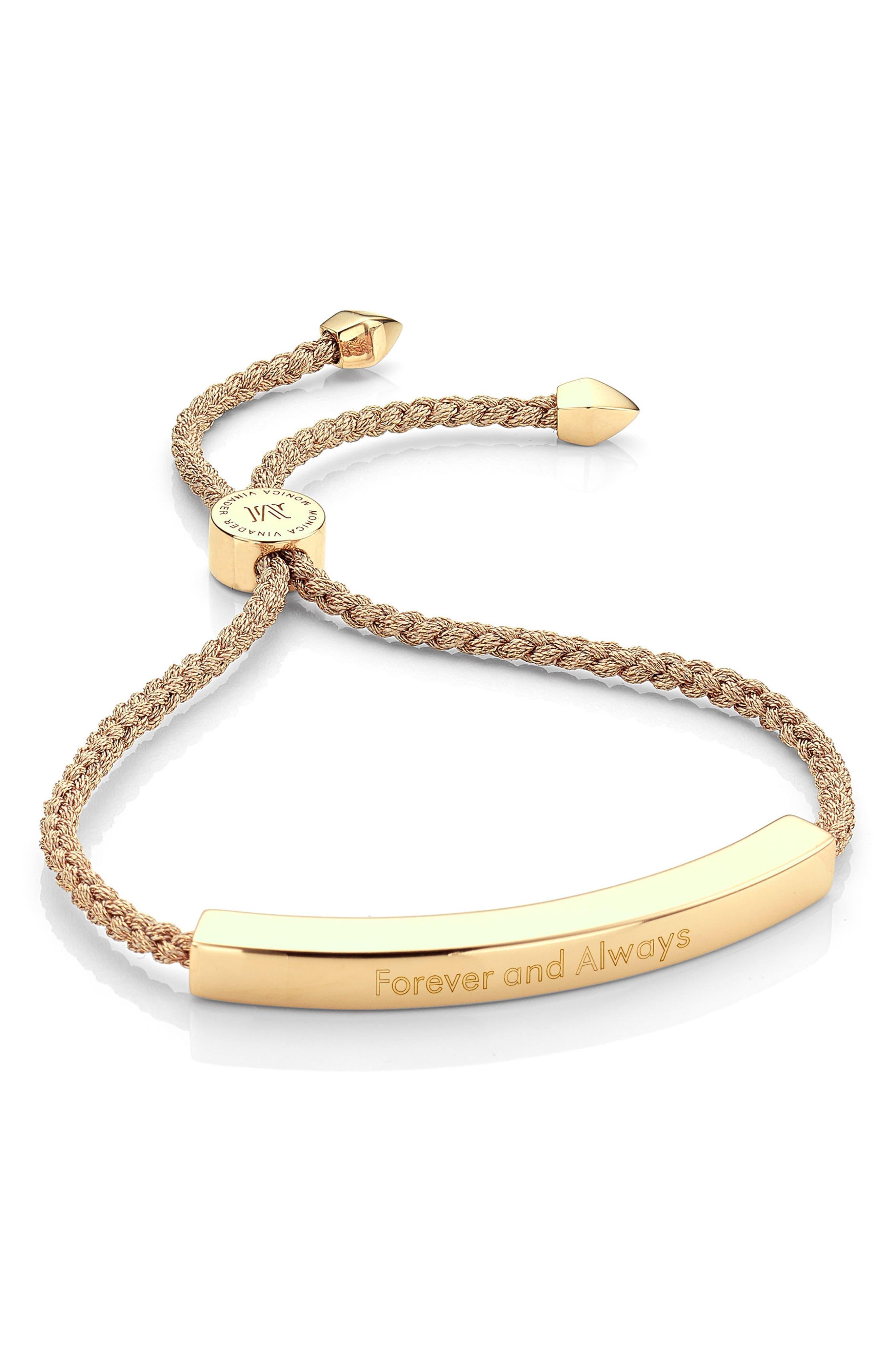 Engravable Linear Friendship Bracelet,                             Alternate thumbnail 2, color,                             METALLIC/ YELLOW GOLD