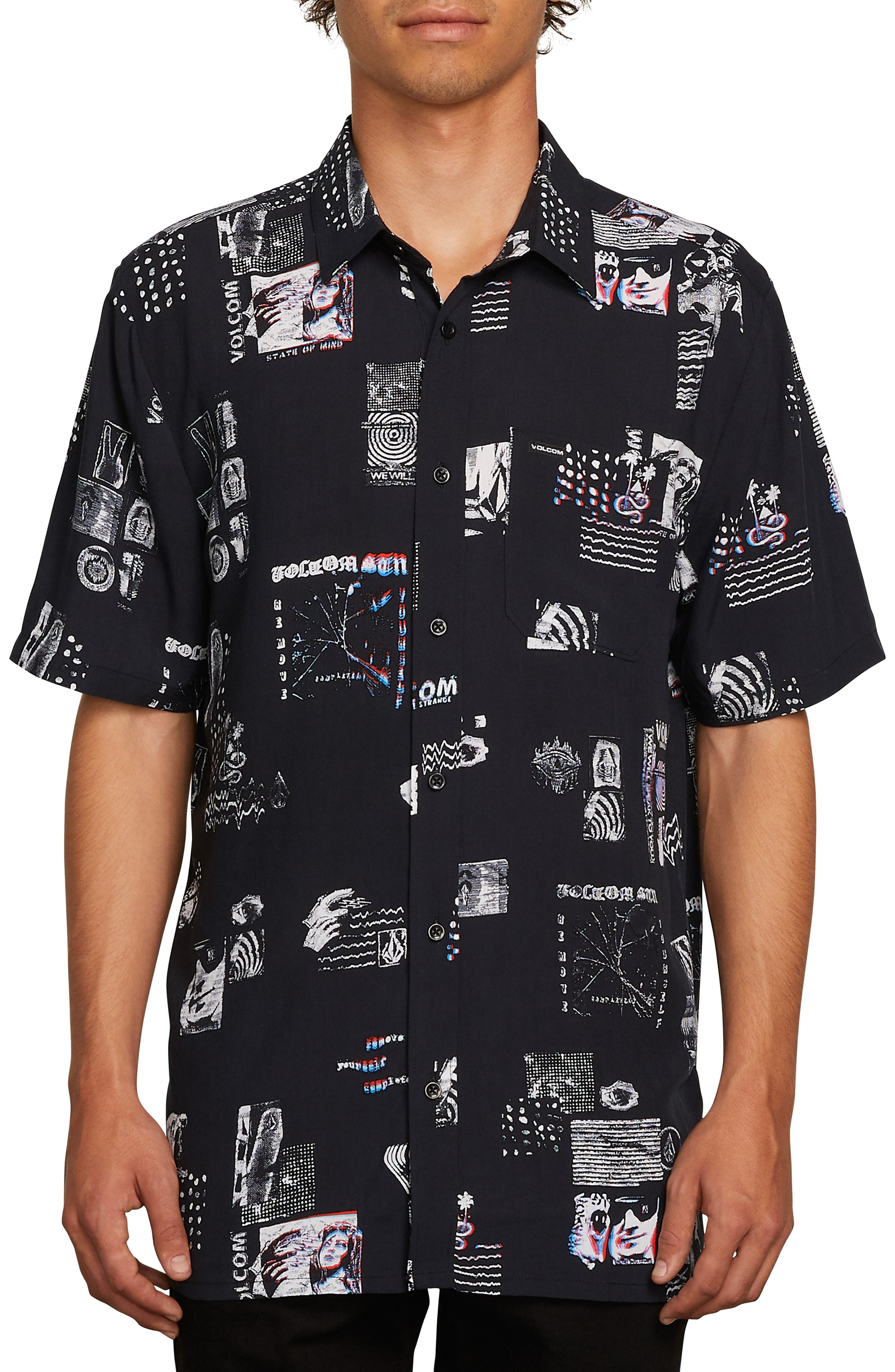 Speak to You Woven Shirt,                         Main,                         color, BLACK