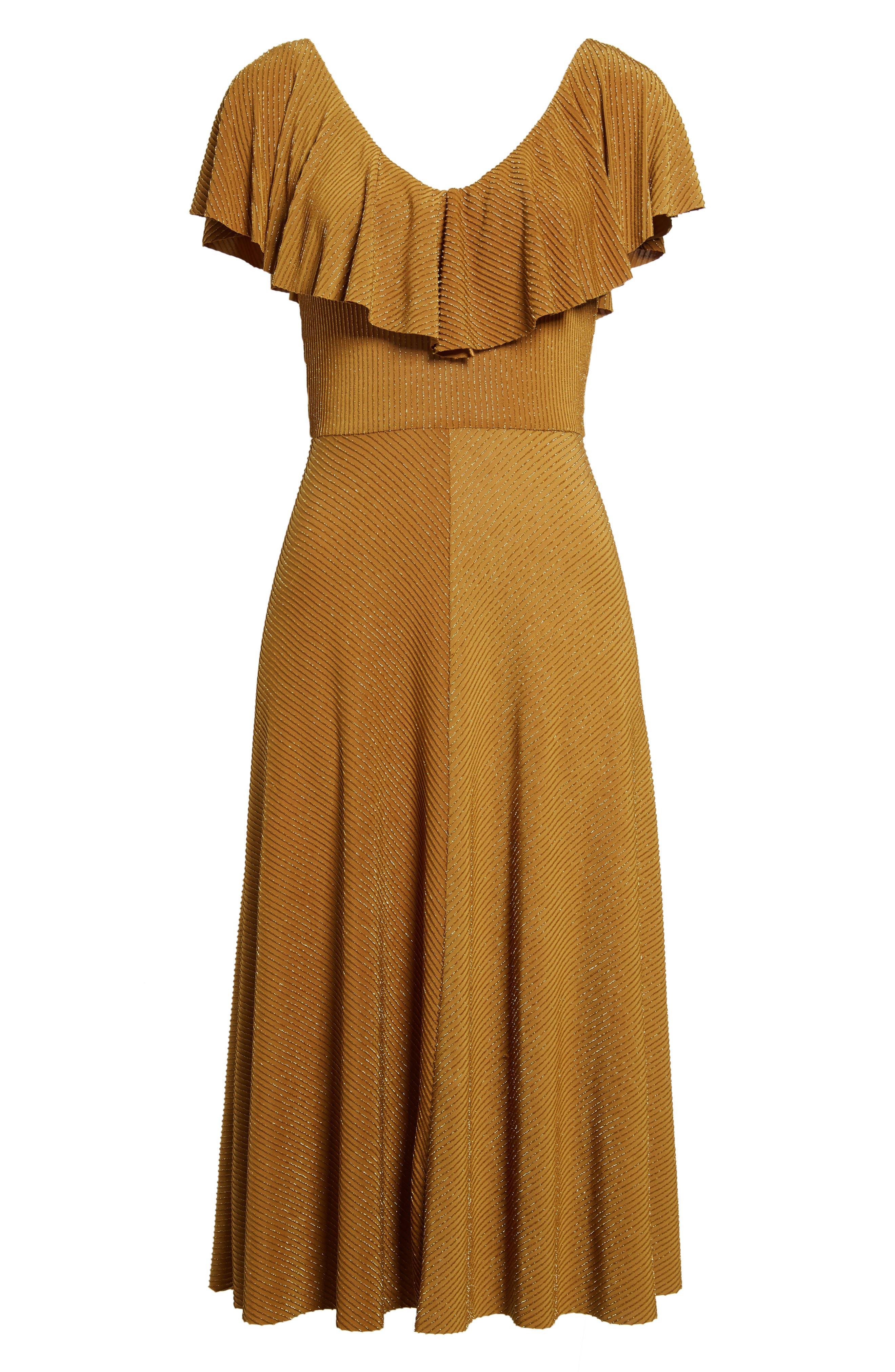 Ruffle Midi Dress,                             Alternate thumbnail 6, color,                             710
