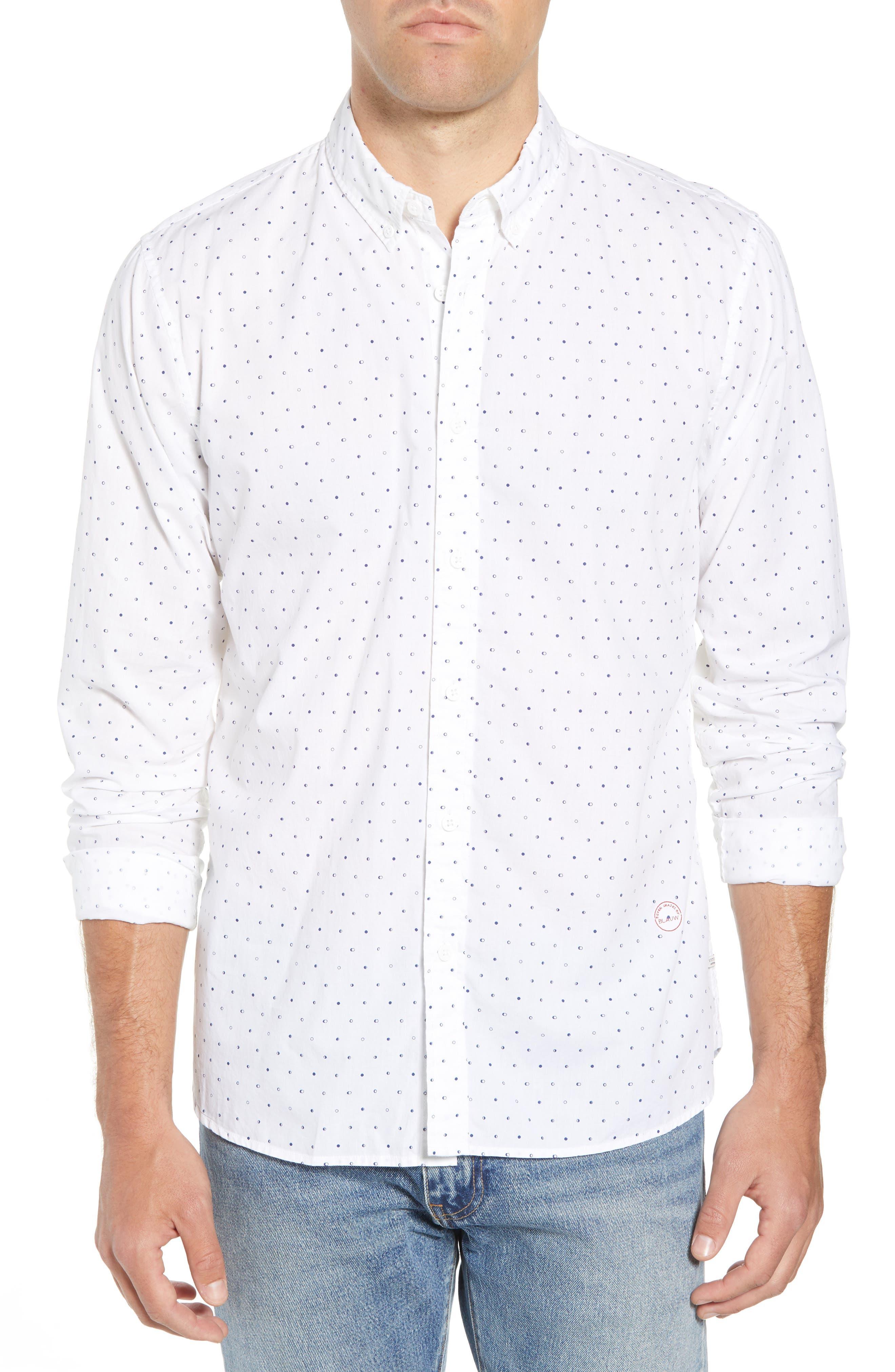 Amsterdams Blauw Simple Light Print Sport Shirt,                         Main,                         color, 110