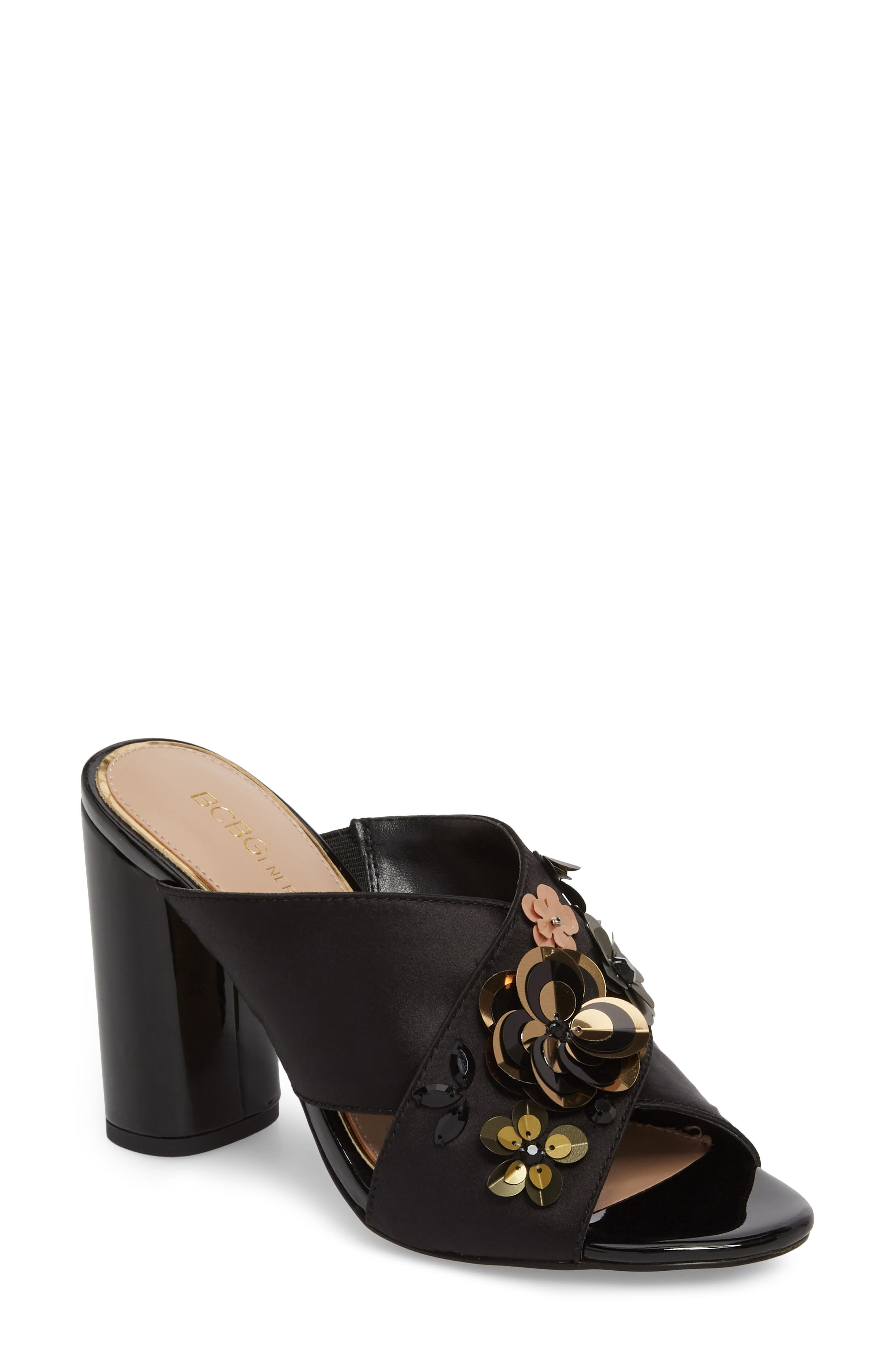 Fabia Sequin Flower Embellished Mule,                             Main thumbnail 1, color,                             001