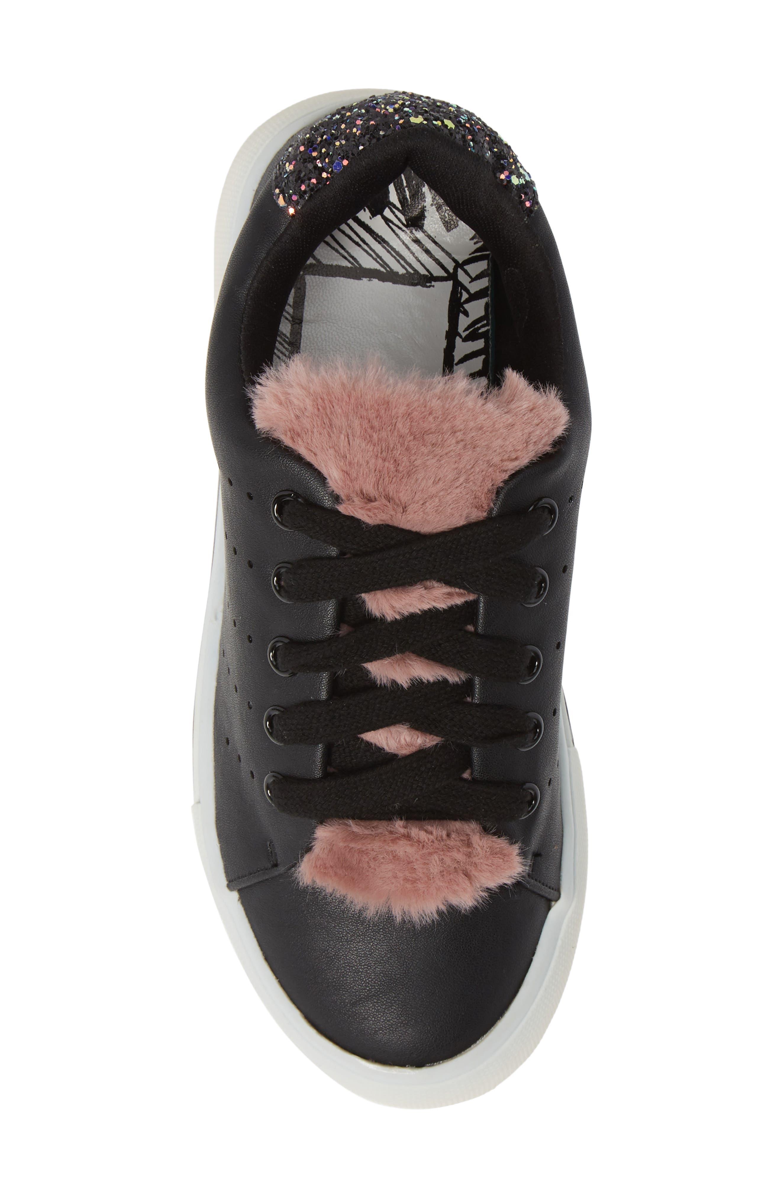 Cabel Glitter Faux Fur Sneaker,                             Alternate thumbnail 5, color,                             BLACK STELLA