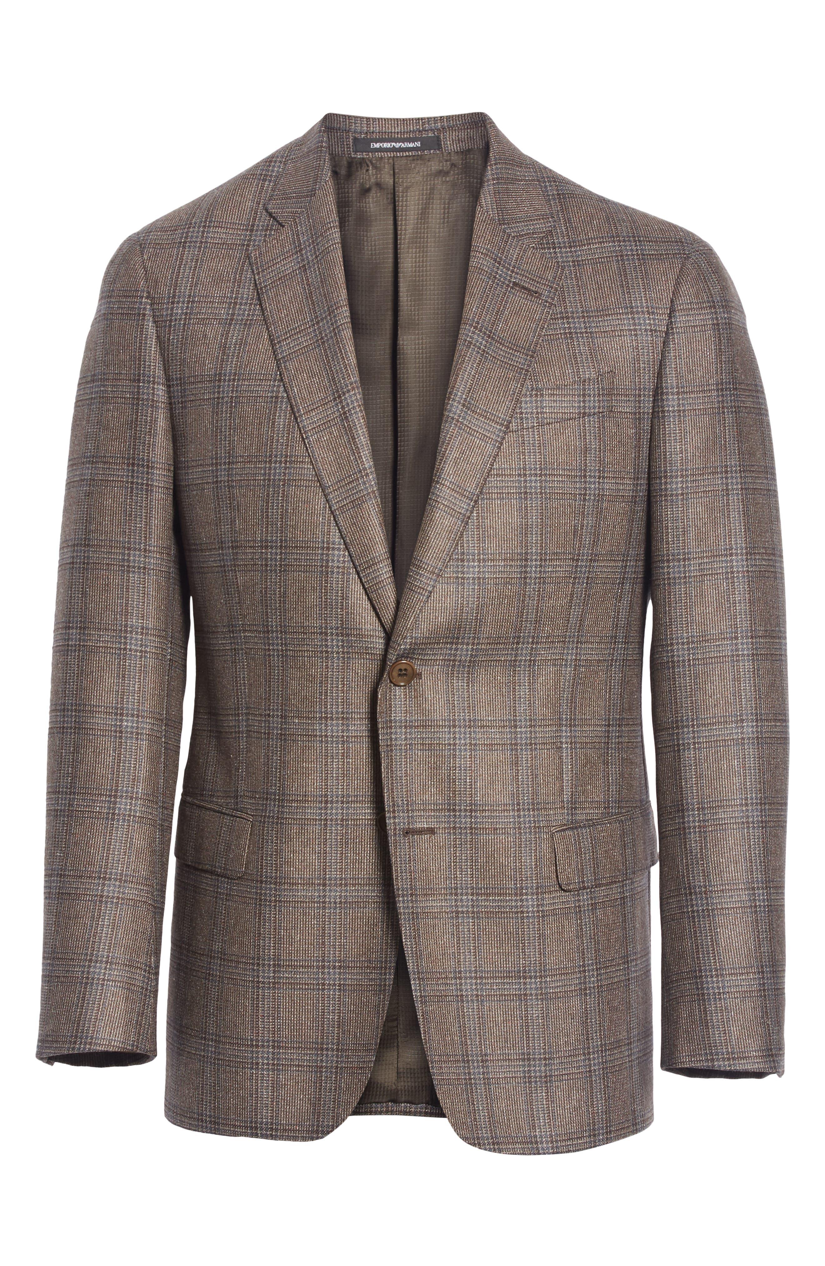 G Line Trim Fit Plaid Silk & Wool Sport Coat,                             Alternate thumbnail 5, color,                             BROWN