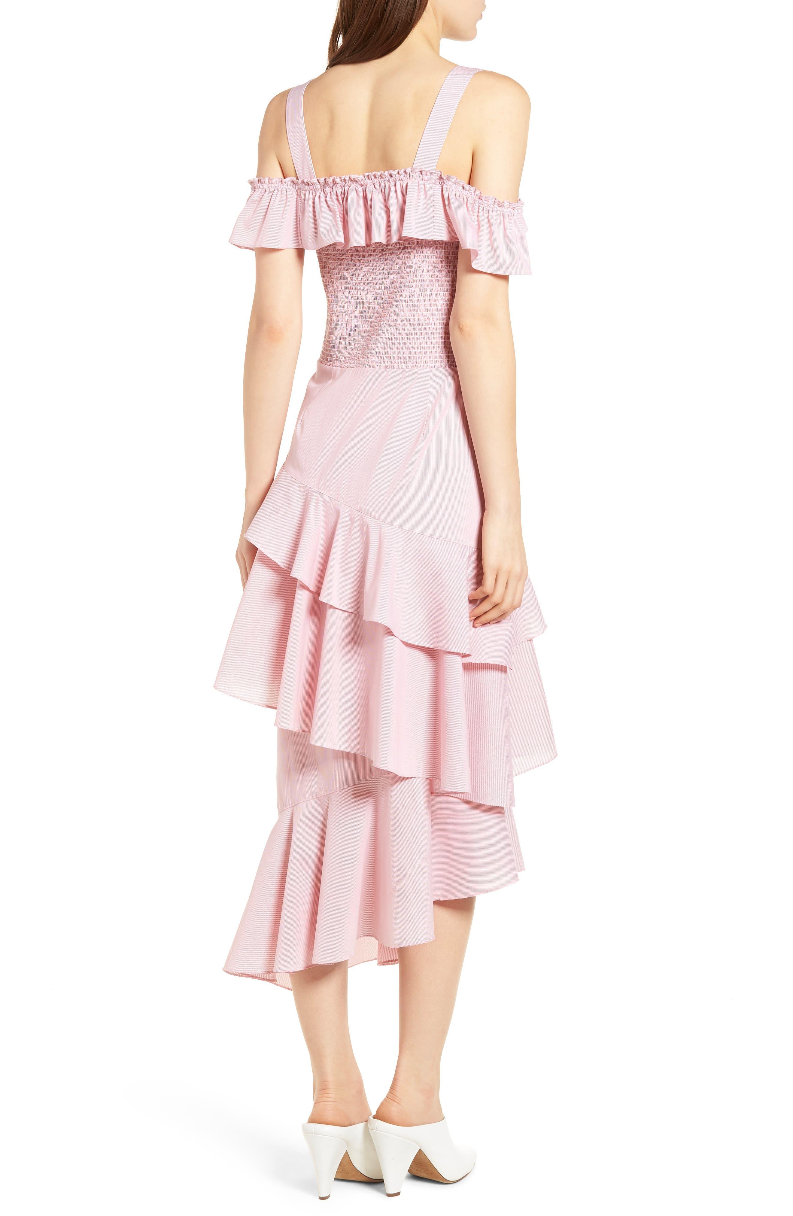 Ruffle Smocked Cold Shoulder Dress,                             Alternate thumbnail 4, color,
