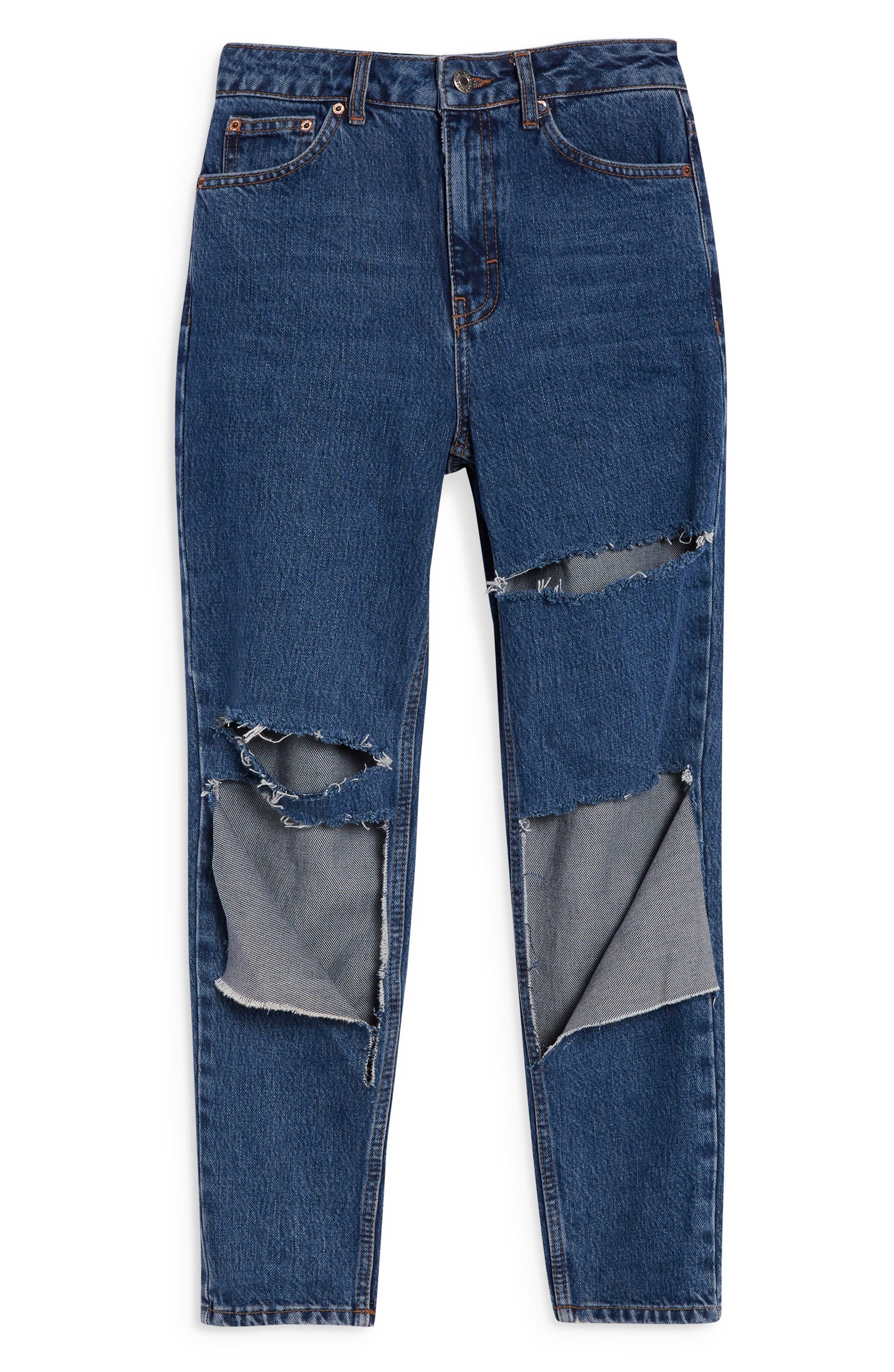 Slash Mom Jeans,                             Alternate thumbnail 3, color,                             MID DENIM