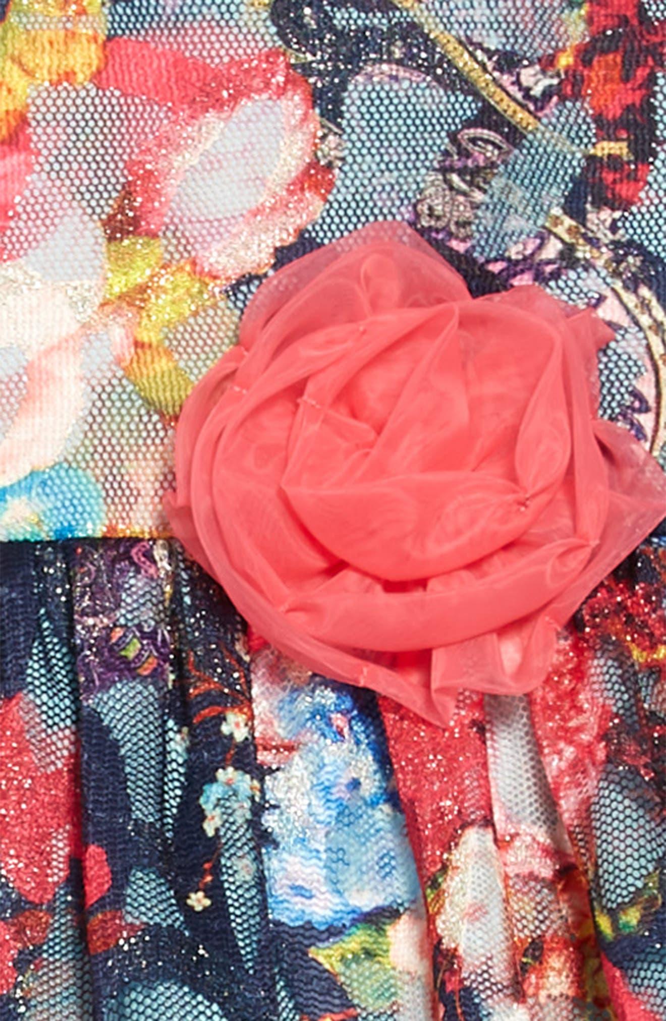 Floral Mesh Burnout Dress,                             Alternate thumbnail 3, color,                             400
