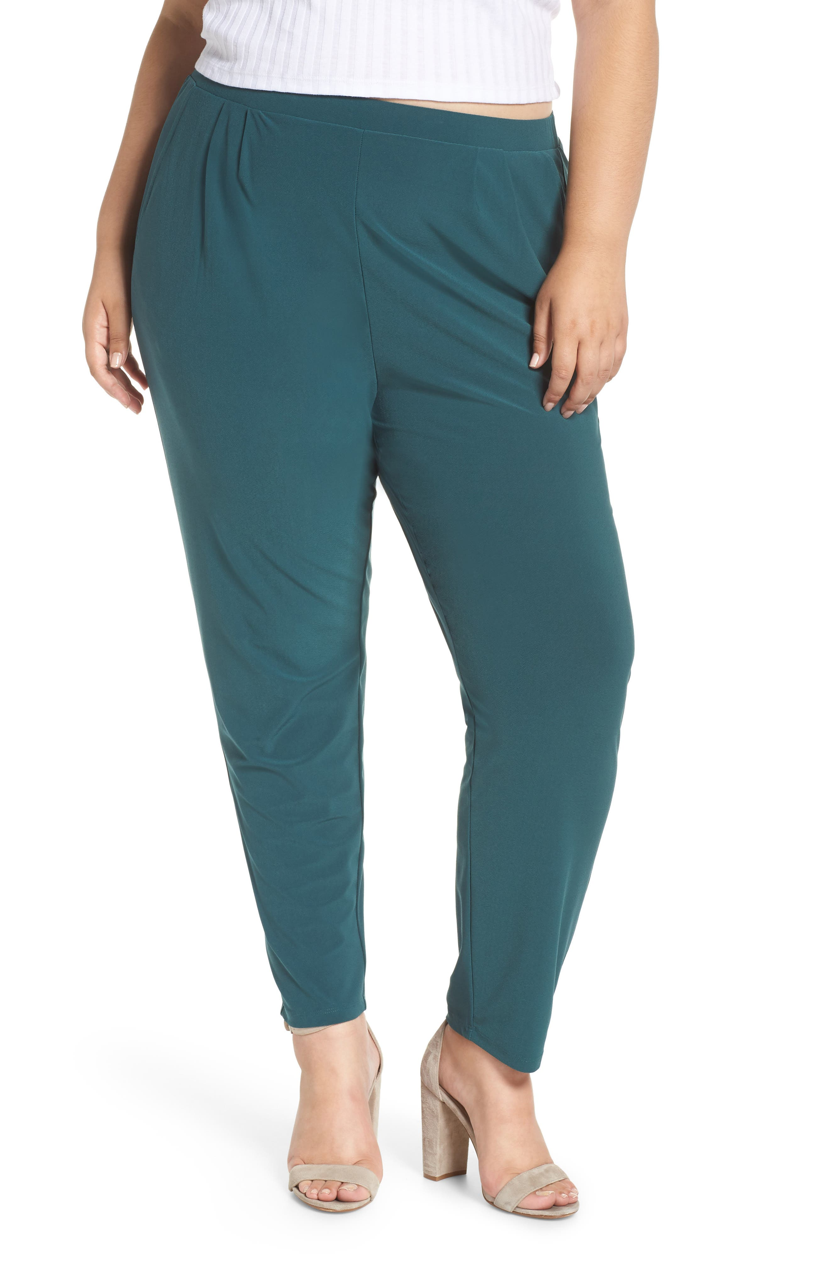 High Rise Pleated Pants,                         Main,                         color, GREEN BUG