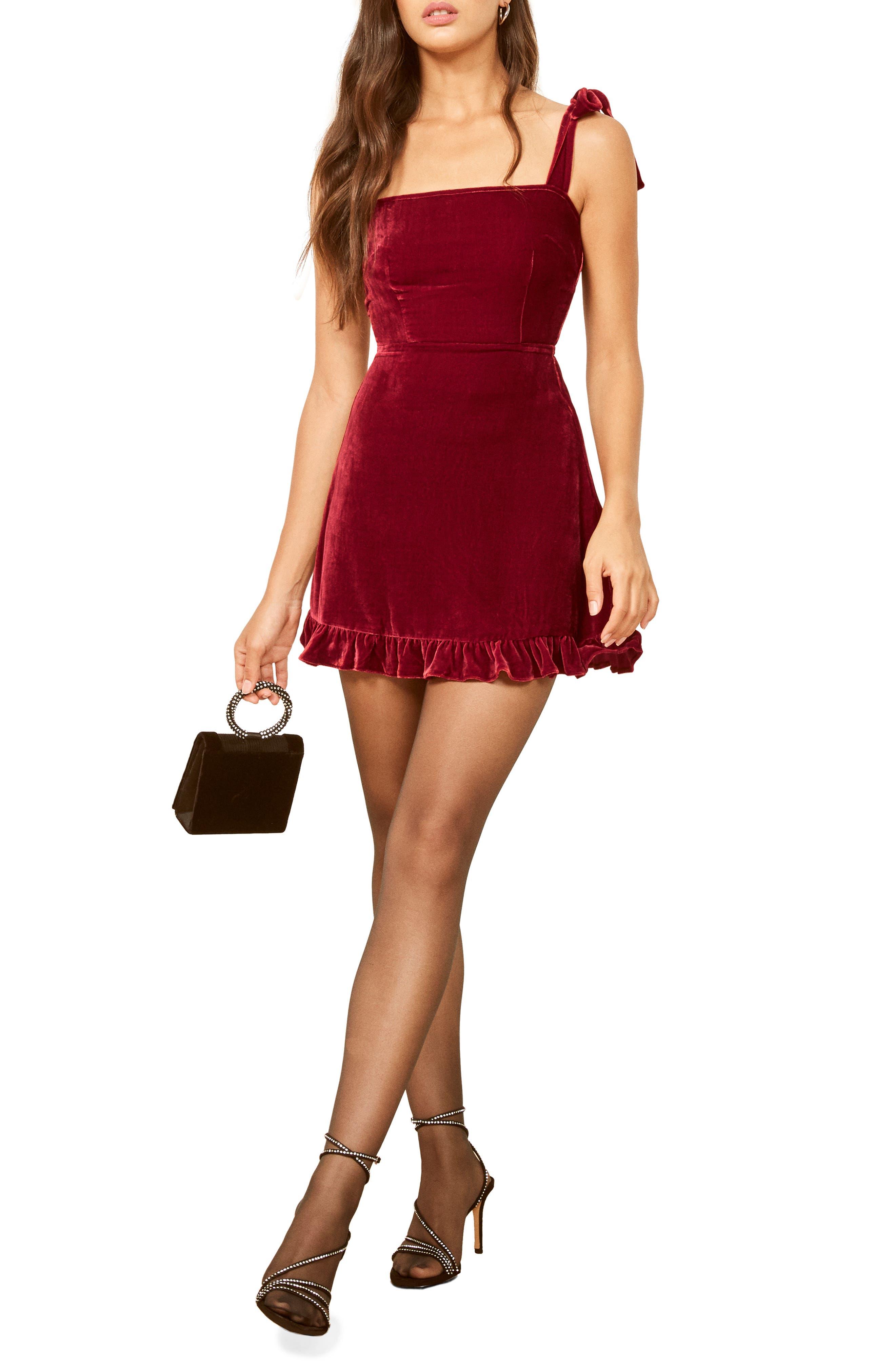 Minetta Velvet Minidress,                         Main,                         color, CRIMSON