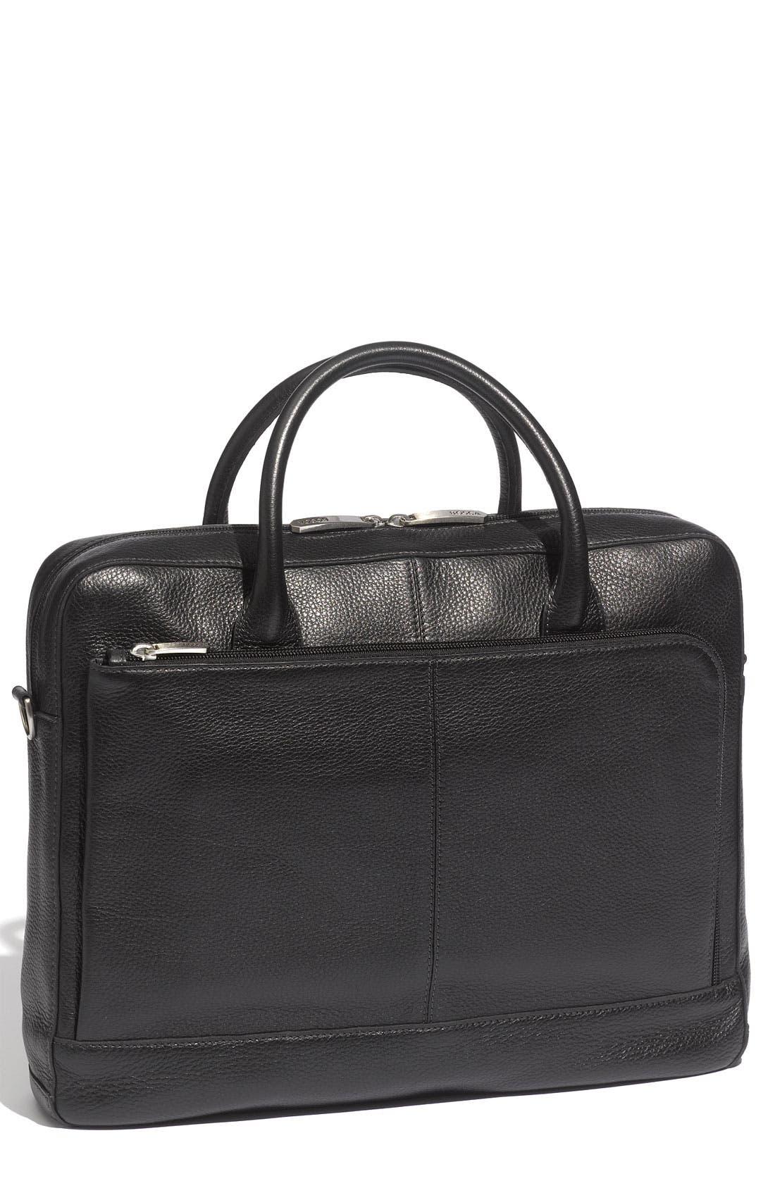 Slim Leather Briefcase,                             Main thumbnail 1, color,