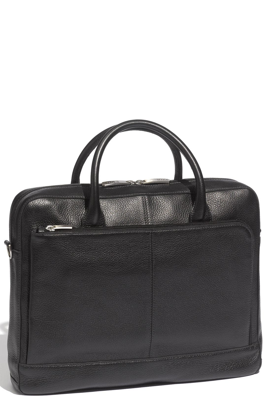Slim Leather Briefcase,                         Main,                         color,