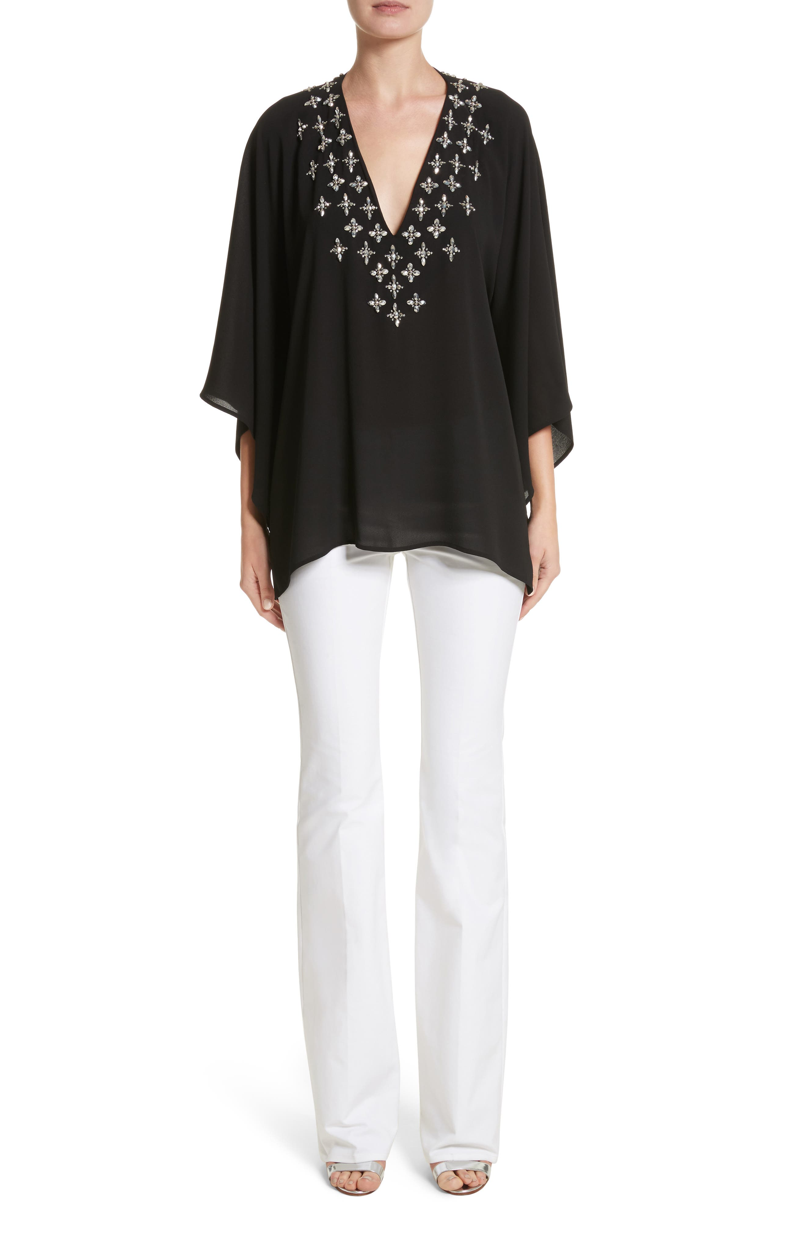 Jeweled Silk Tunic,                             Alternate thumbnail 7, color,                             001