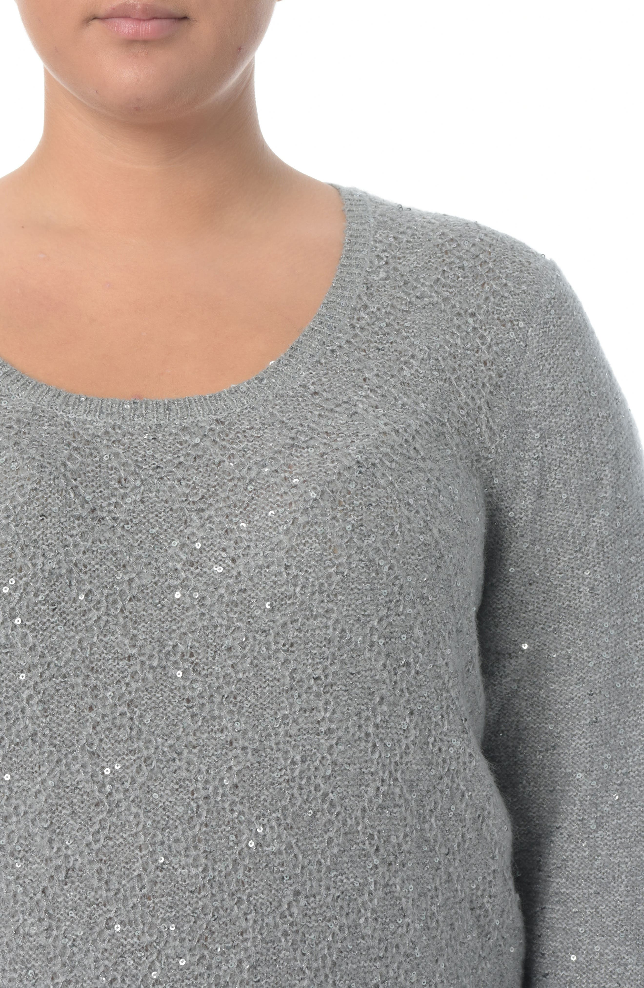 Sequin Scoop Neck Sweater,                             Alternate thumbnail 3, color,                             MINERAL
