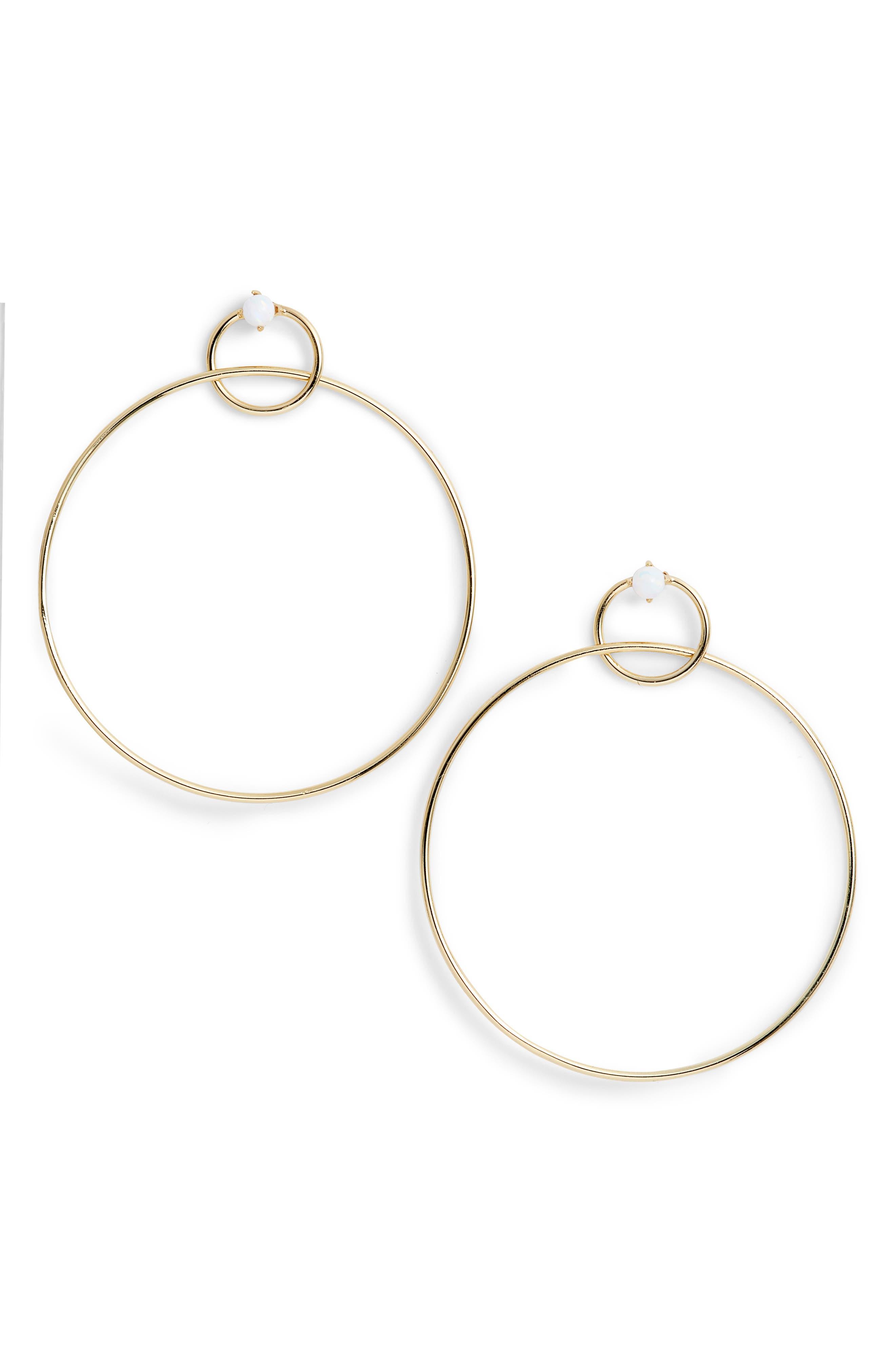 Pearl Accent Double Hoop Drop Earrings,                         Main,                         color, 710
