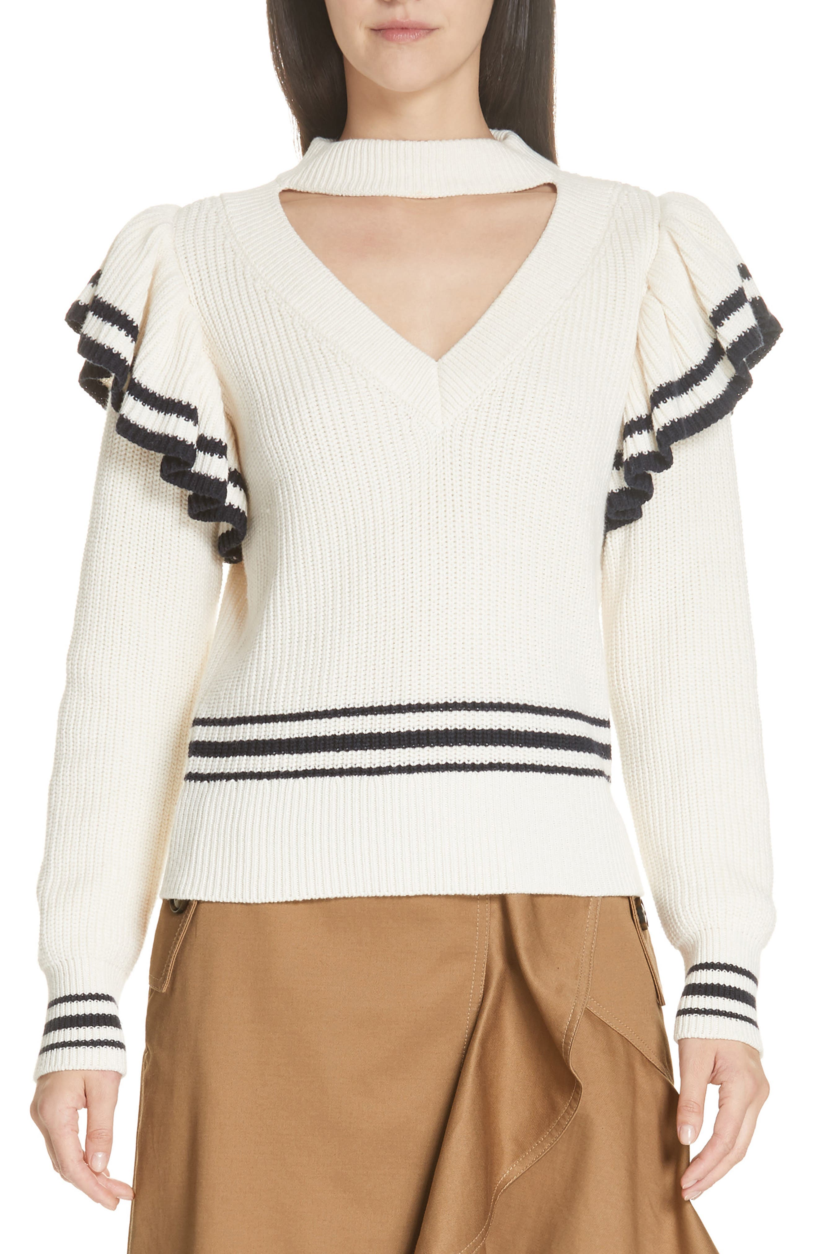 Stripe Ruffle Trim Sweater,                             Main thumbnail 1, color,                             IVORY-NAVY