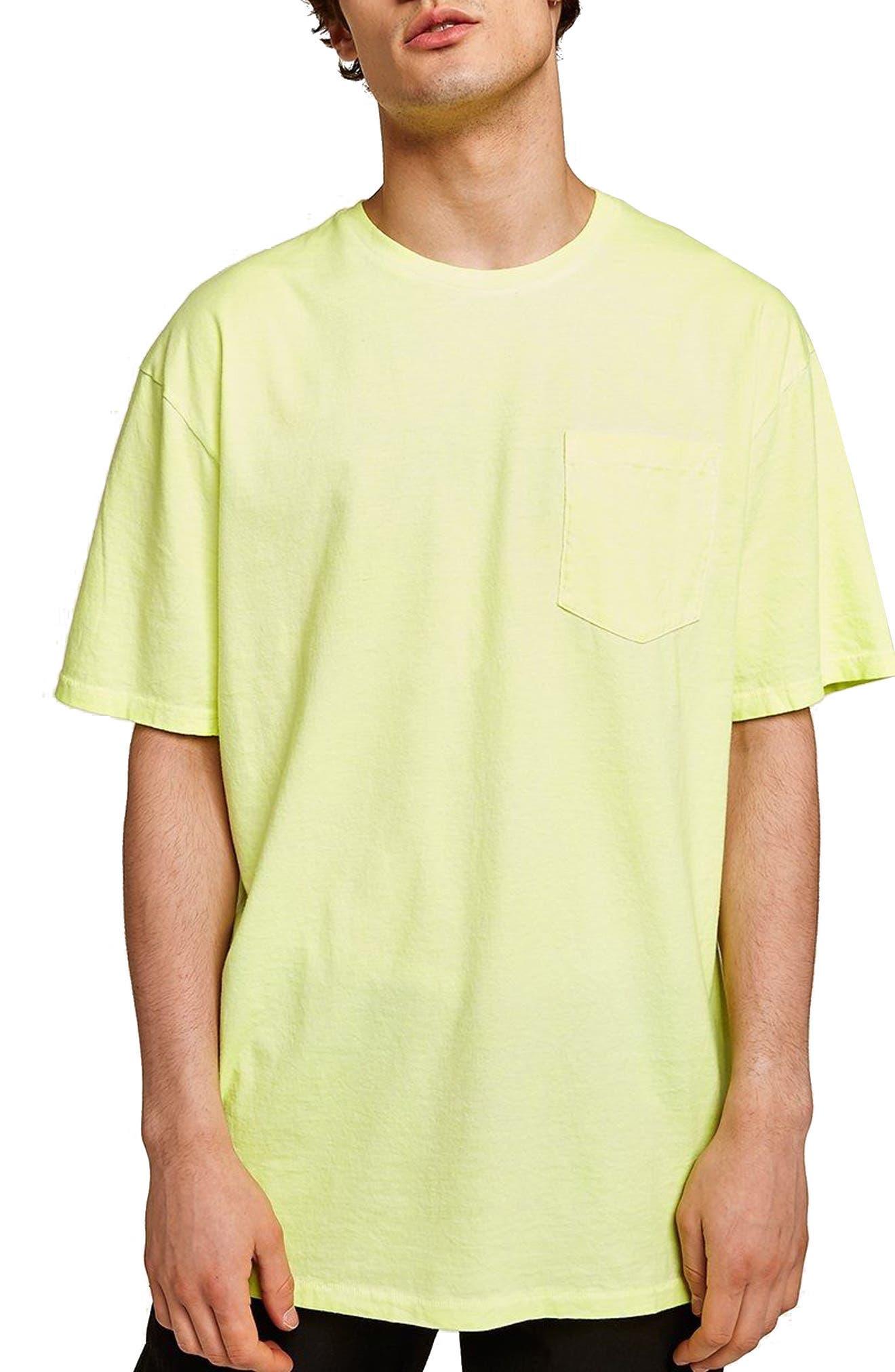 Oversize Acid Wash Pocket T-Shirt,                         Main,                         color, LIGHT GREEN