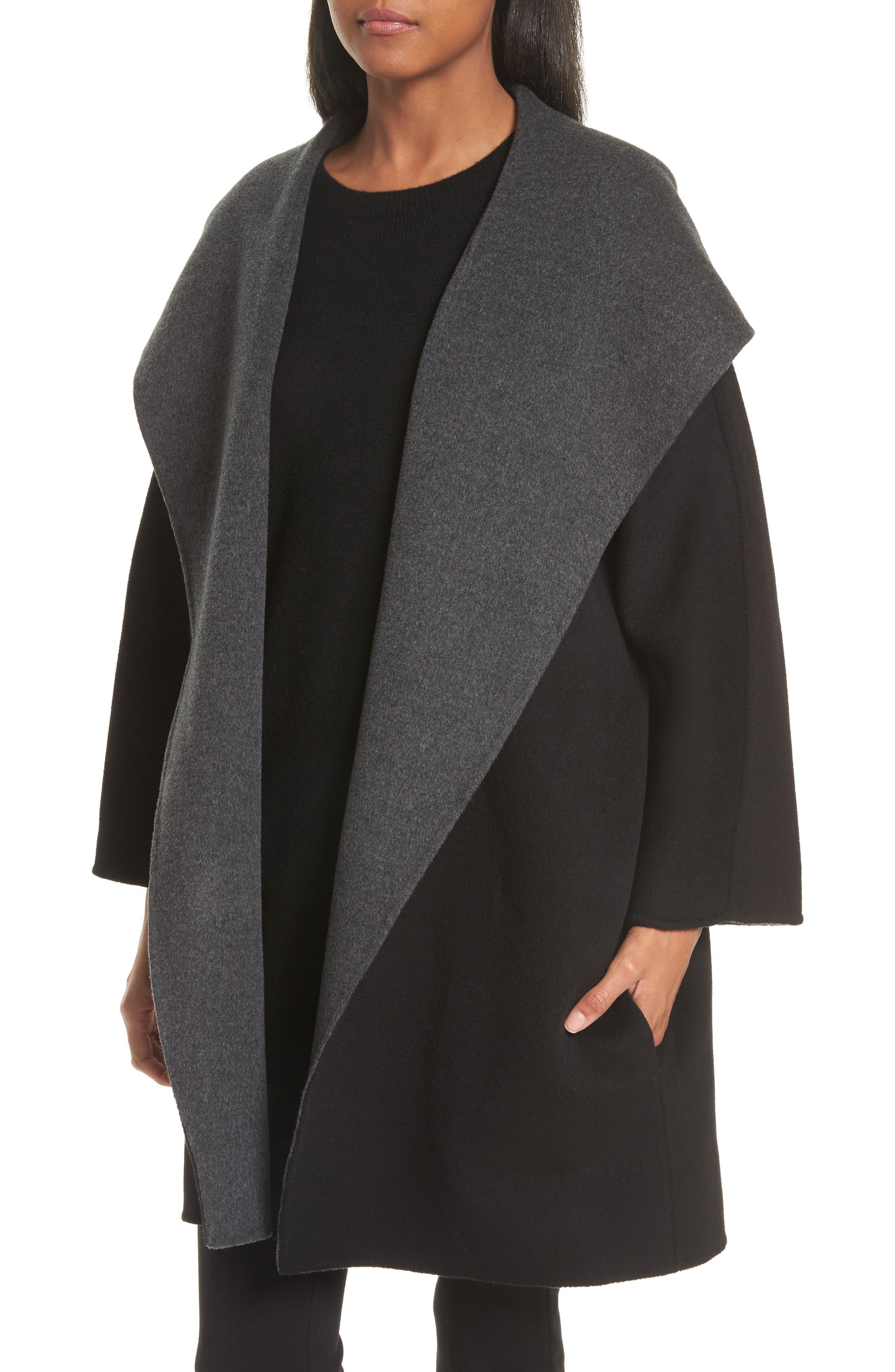 Double Face Wool & Cashmere Coat,                             Alternate thumbnail 4, color,                             060