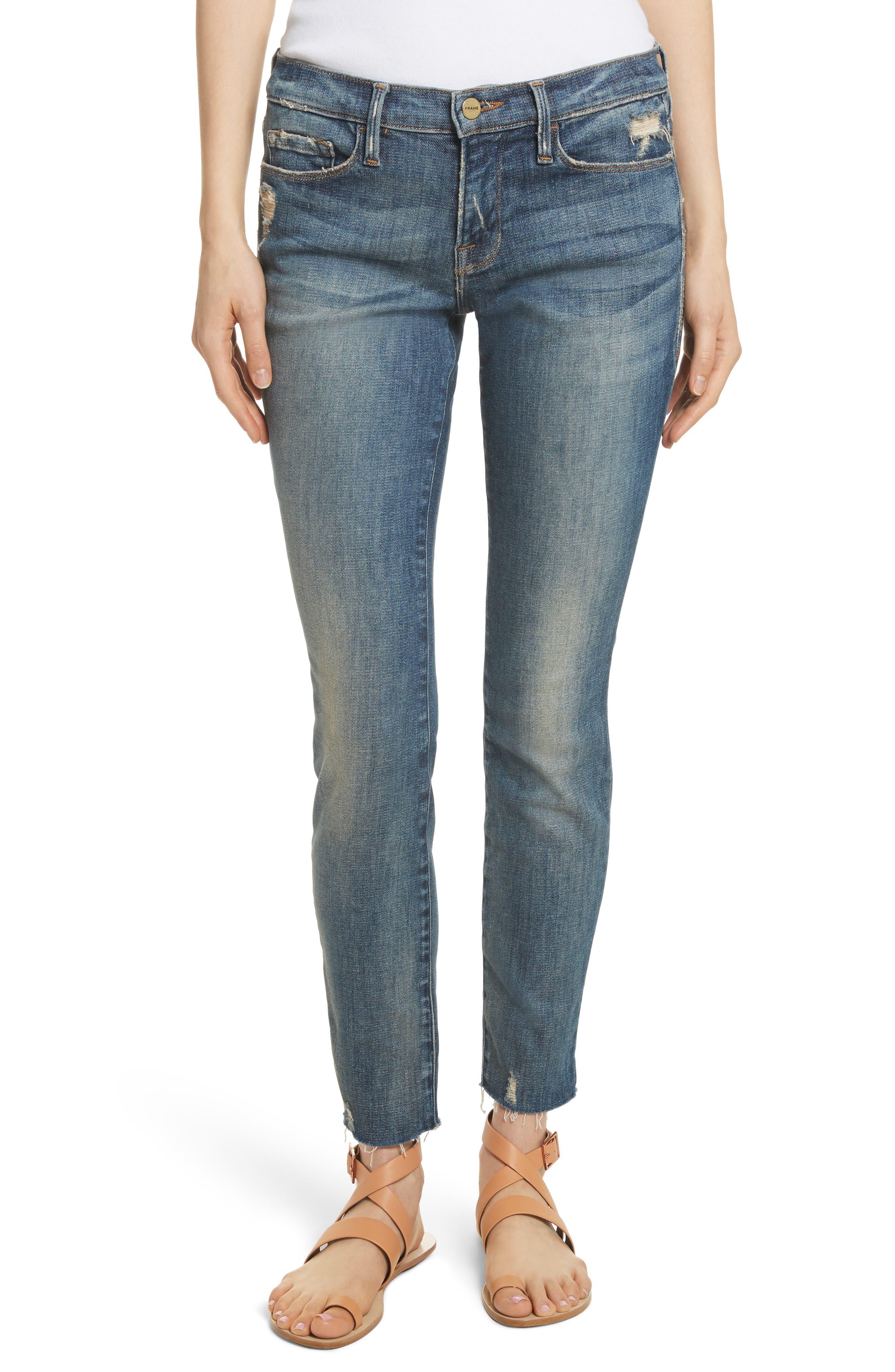 Le Skinny de Jeanne Raw Edge Skinny Jeans,                             Main thumbnail 1, color,                             401