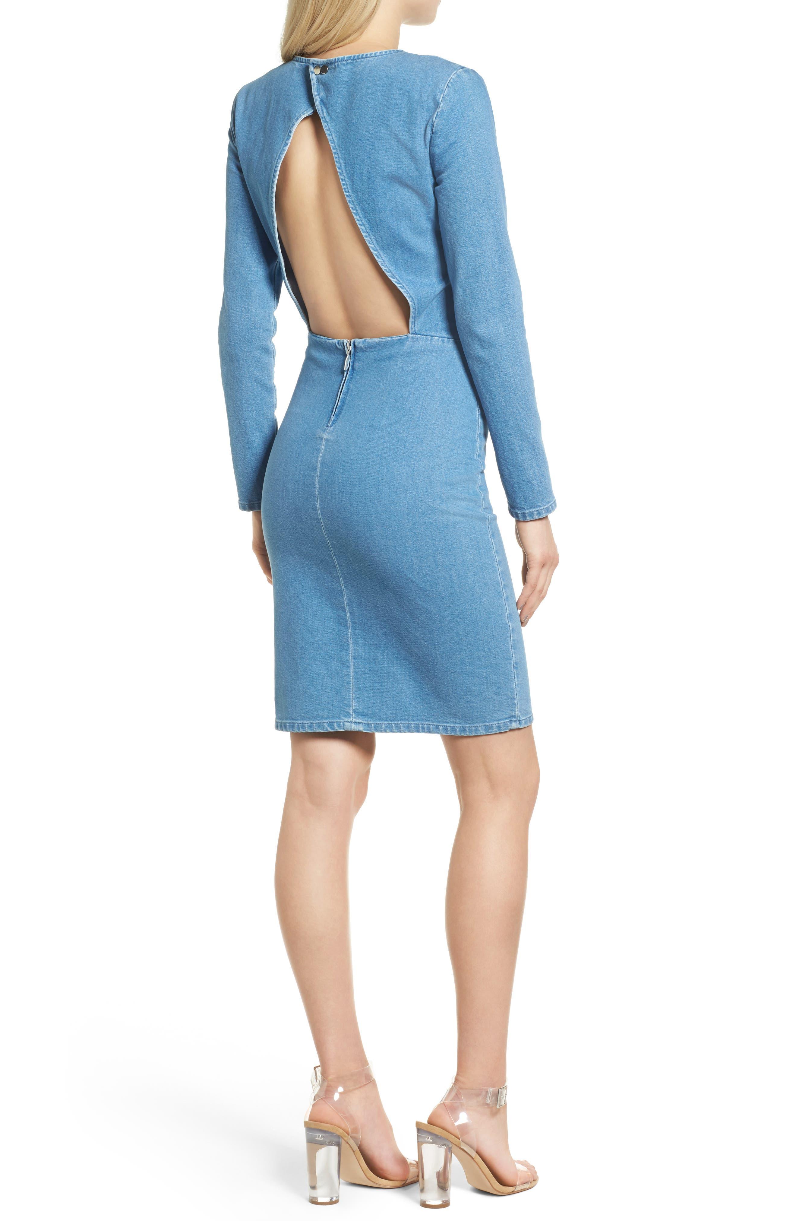 Long Sleeve Denim Dress,                             Alternate thumbnail 2, color,                             491