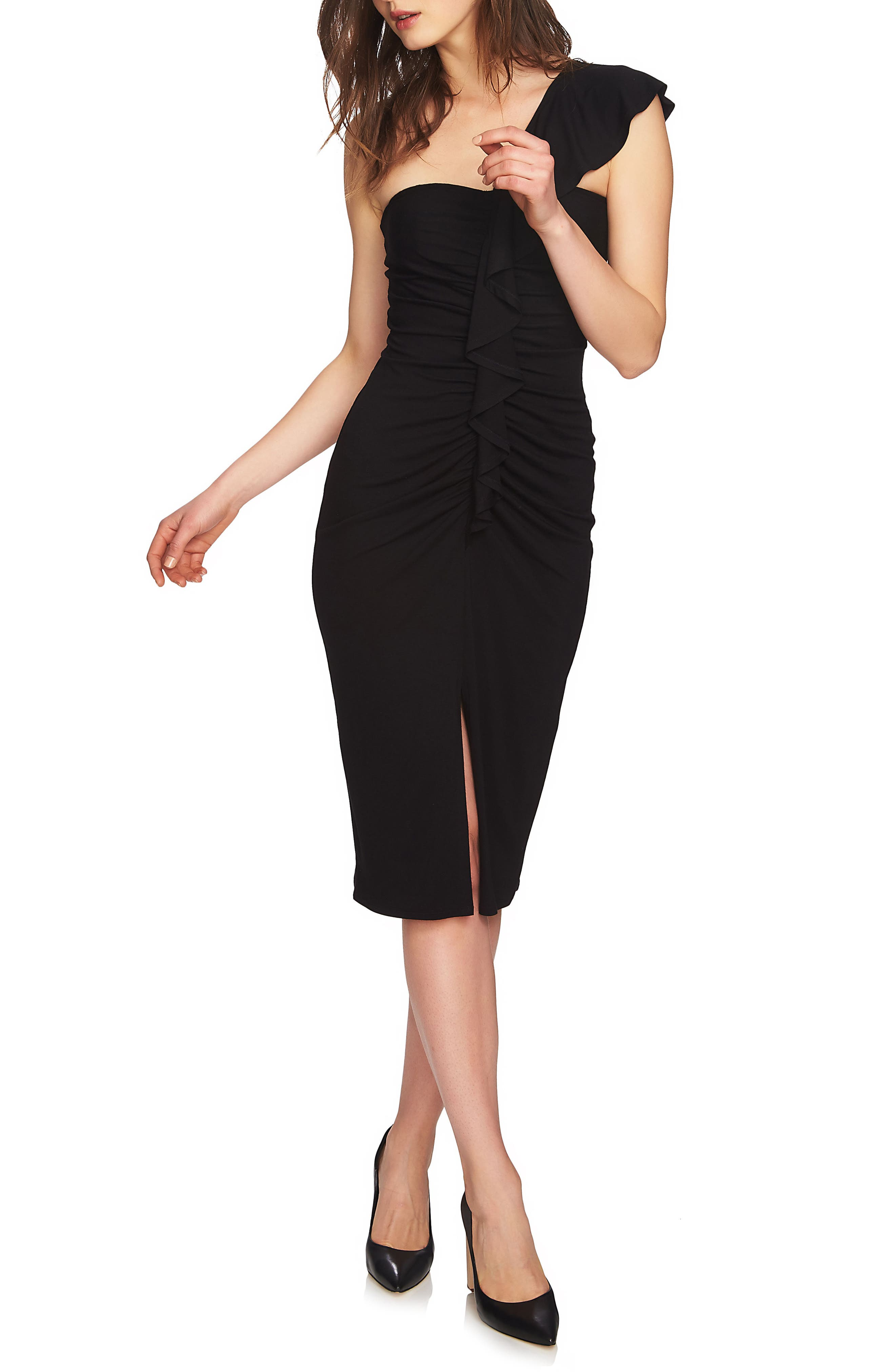 One-Shoulder Ruffle Midi Dress,                             Main thumbnail 1, color,                             006