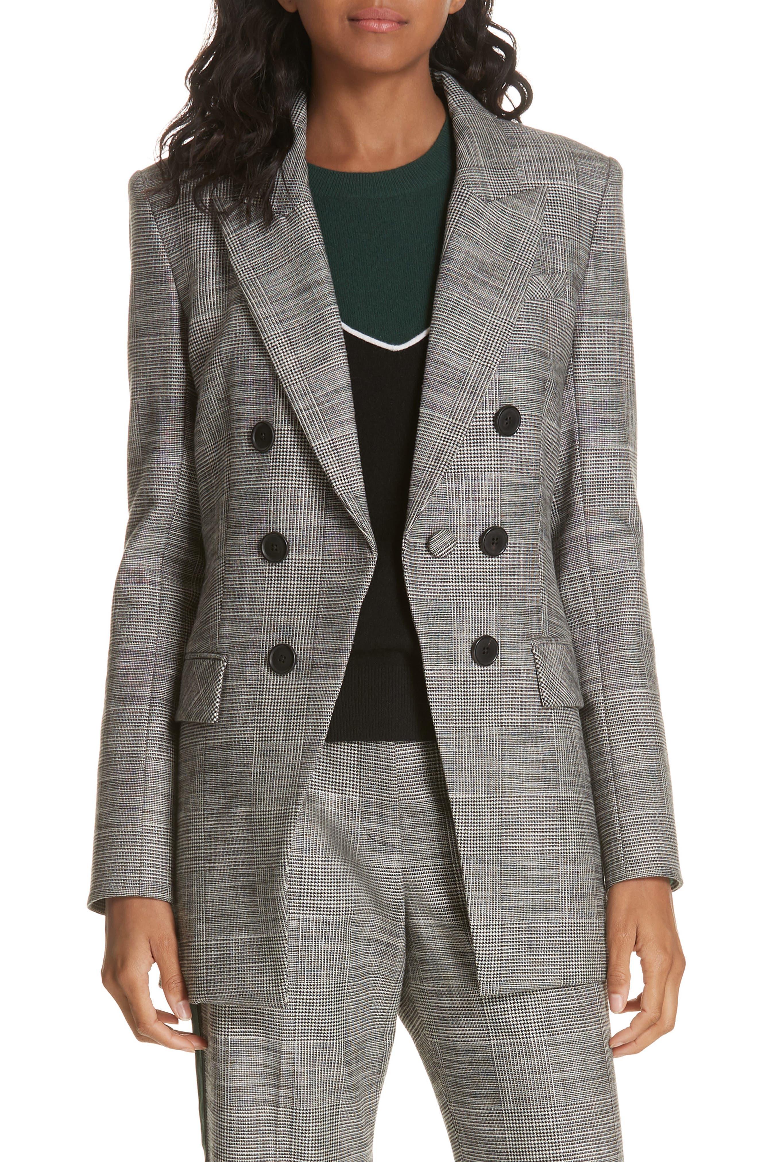 Fortuna Check Dickey Jacket,                         Main,                         color, GREY