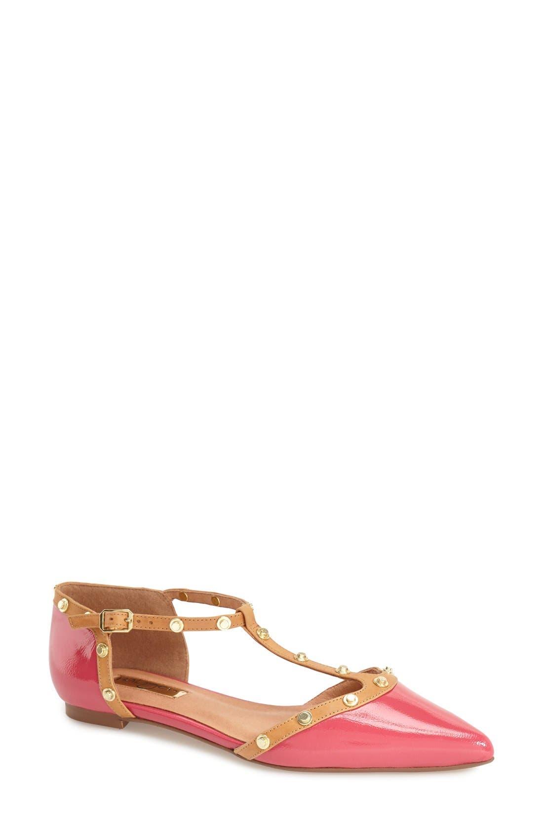 'Olson' Pointy Toe Studded T-Strap Flat,                             Main thumbnail 13, color,