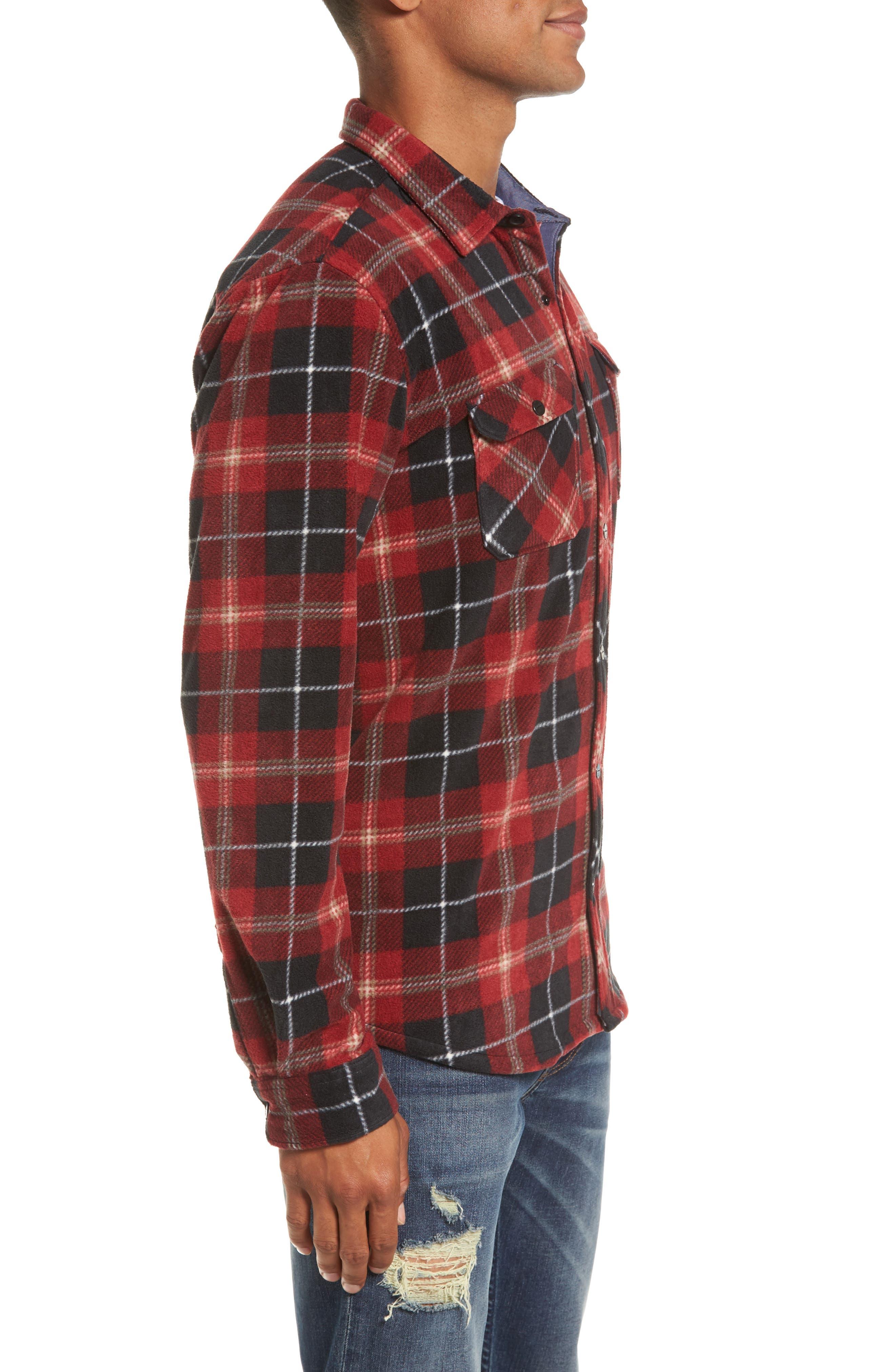 Glacier Plaid Fleece Flannel Shirt,                             Alternate thumbnail 13, color,