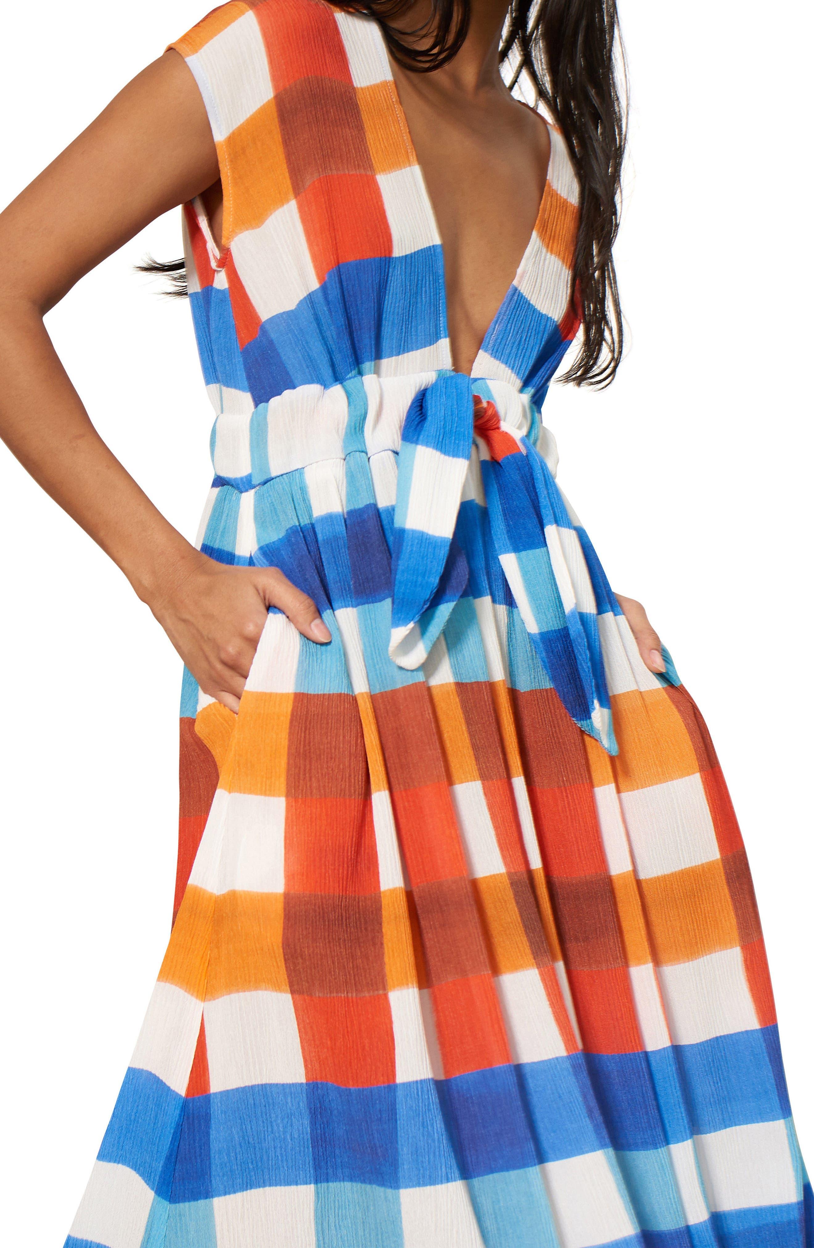 Katinka Check Cover-Up Maxi Dress,                             Alternate thumbnail 3, color,                             RED/ BLUE MULTI