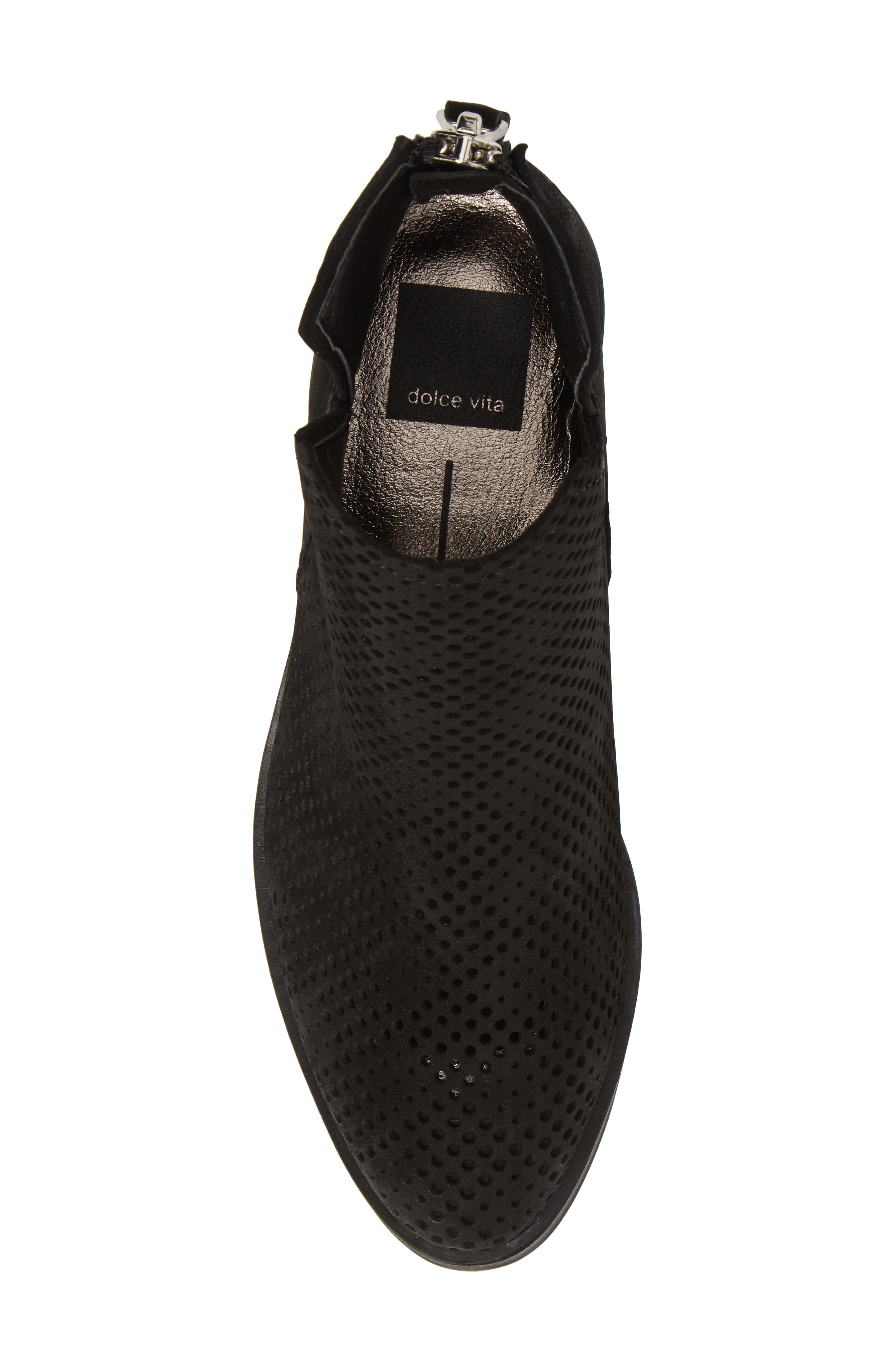Tommi Perforated Bootie,                             Alternate thumbnail 5, color,                             BLACK NUBUCK