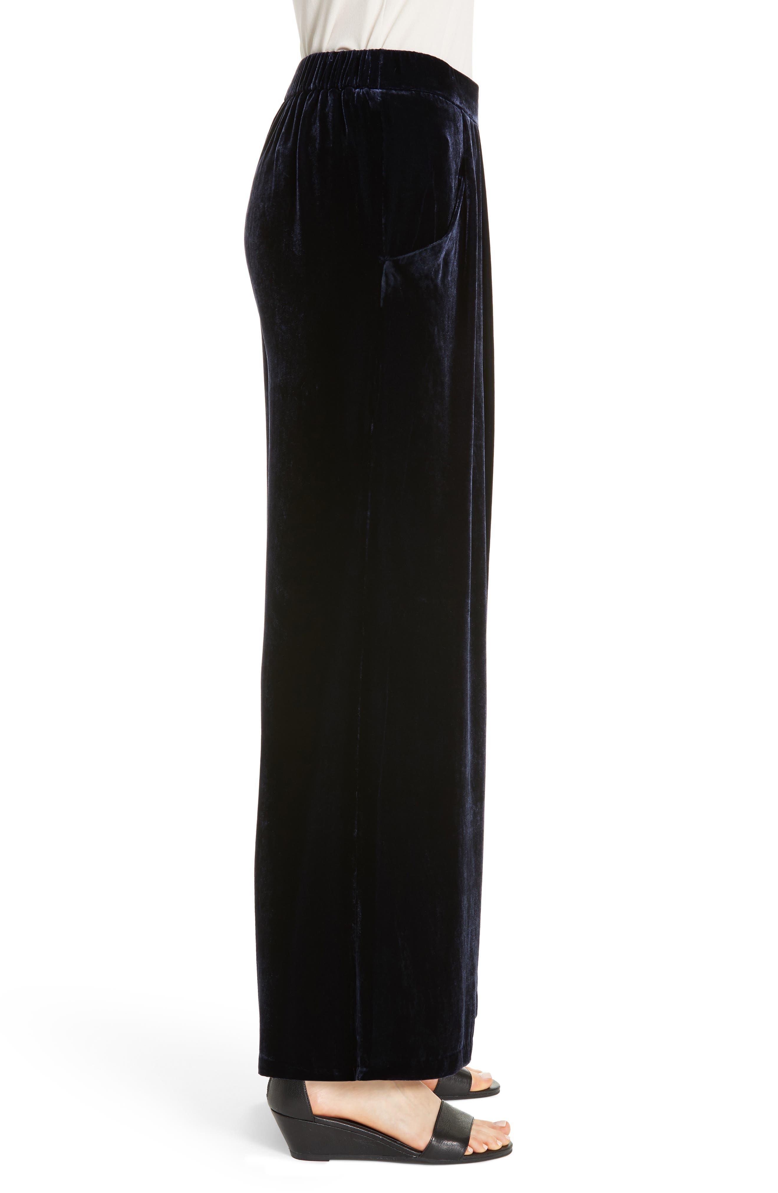 Wide Leg Velvet Ankle Pants,                             Alternate thumbnail 3, color,                             MIDNIGHT