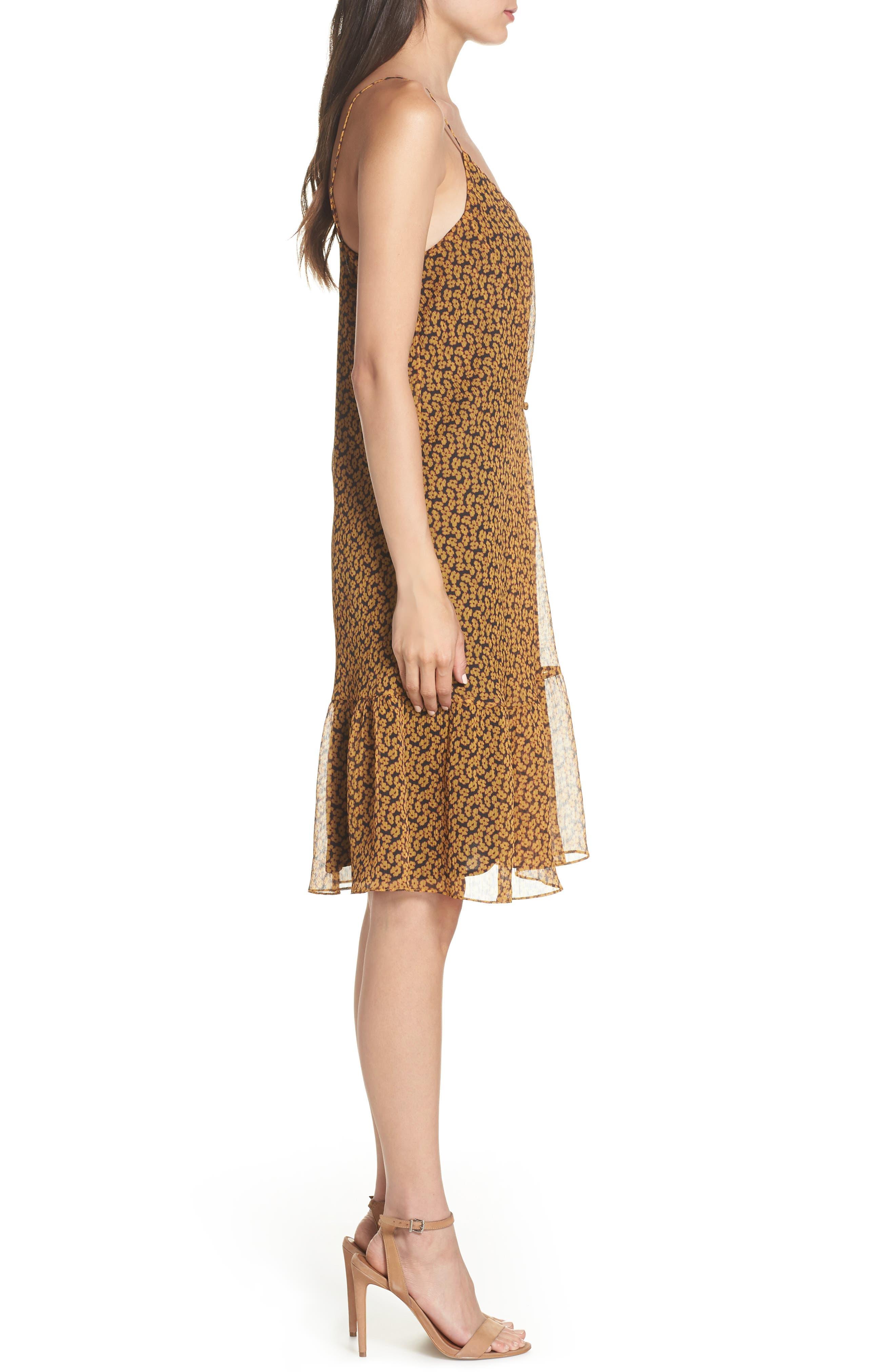 Floral Chiffon Tank Dress,                             Alternate thumbnail 3, color,                             MARIGOLD